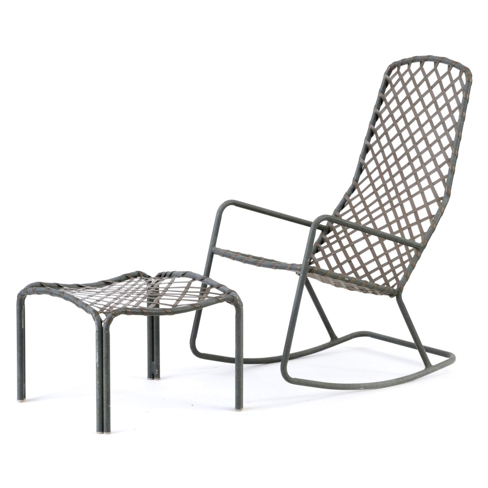 Patio Rocking Chair with Footstool