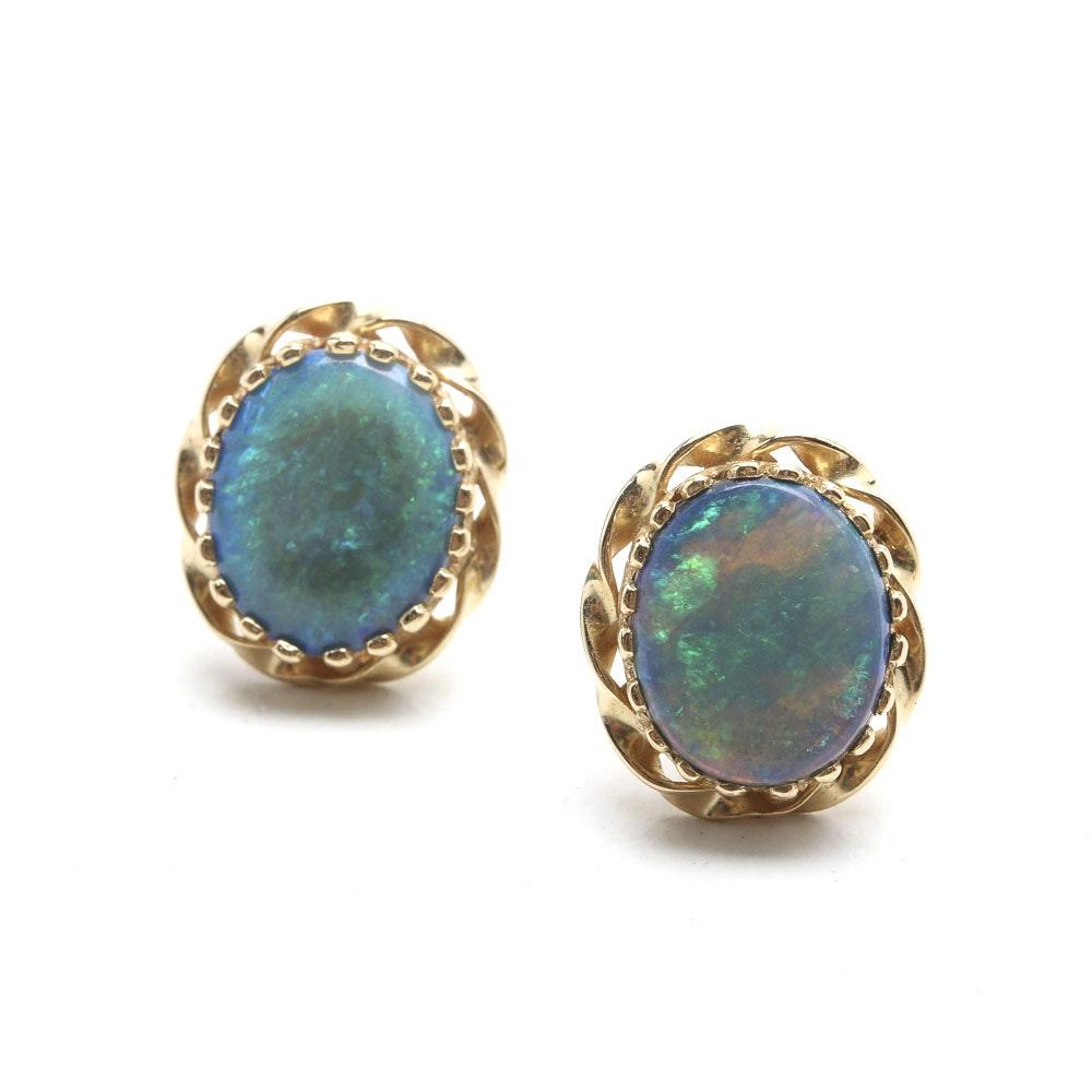 14K Yellow Gold Opal Doublet Stud Earrings