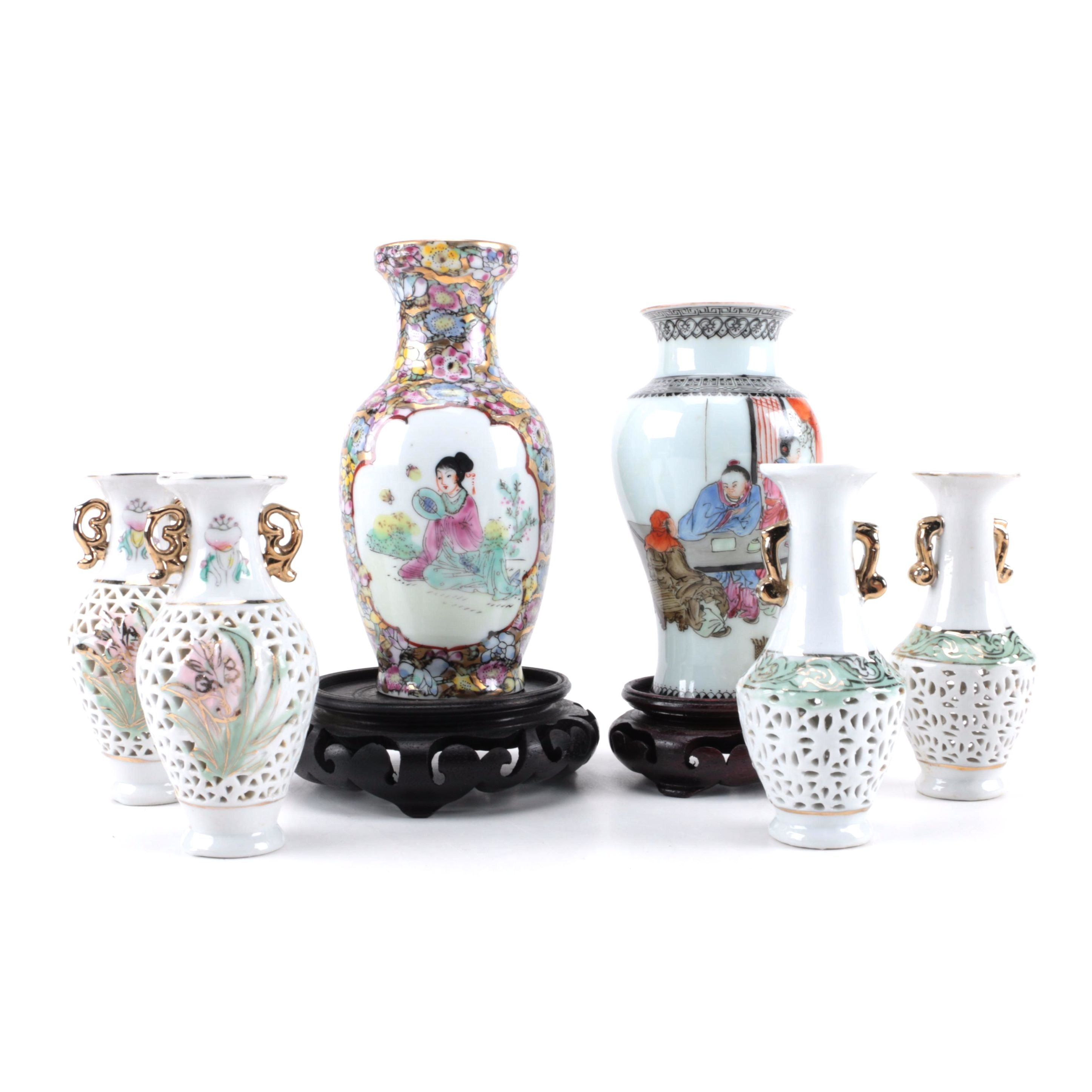 Selection of Multi-Colored Chinese Ceramic and Porcelain Vases