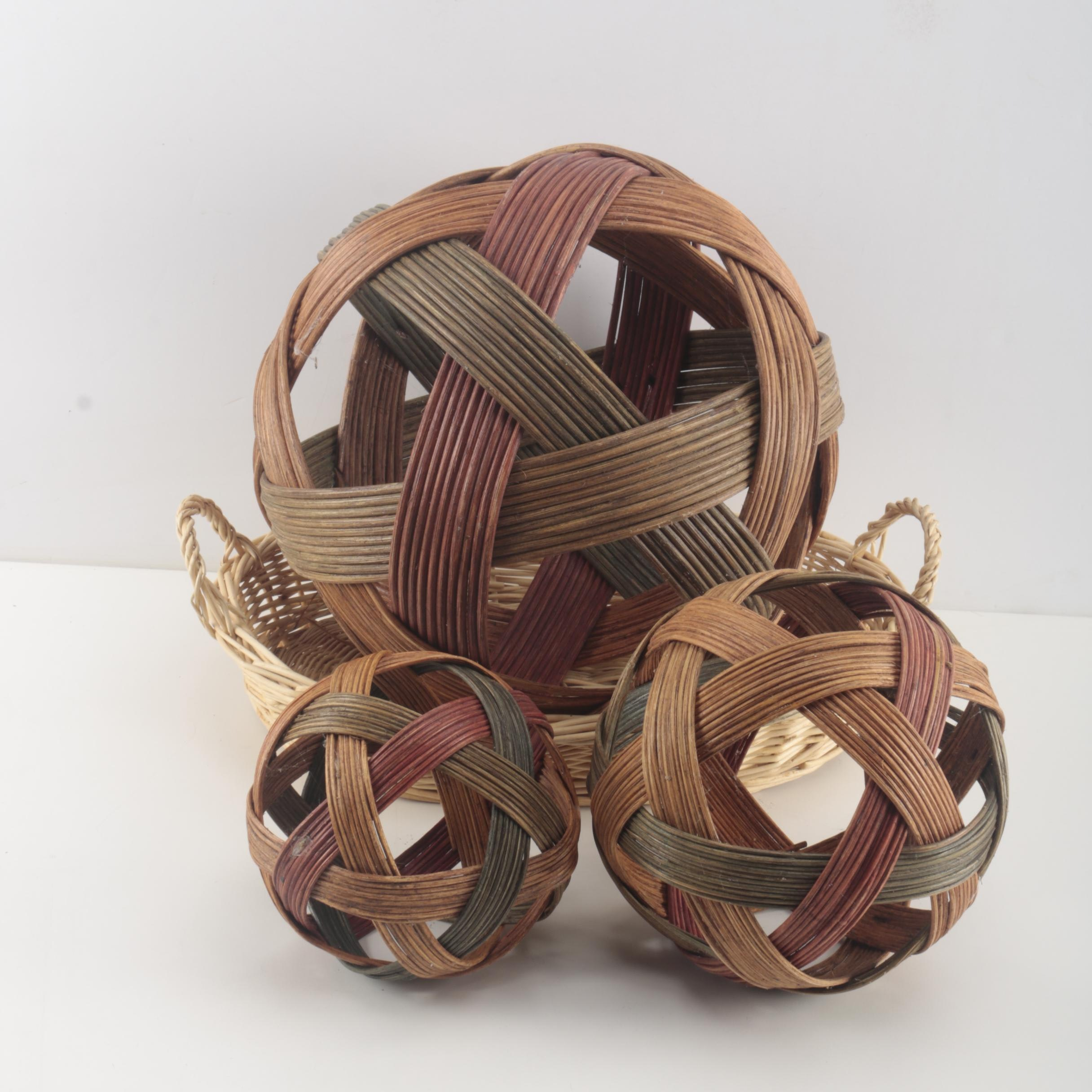Wicker Basket With Decorative Woven Orbs