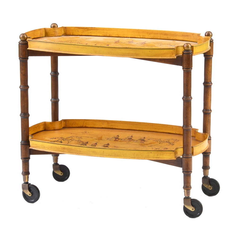 Yellow Tole Painted Tea Cart