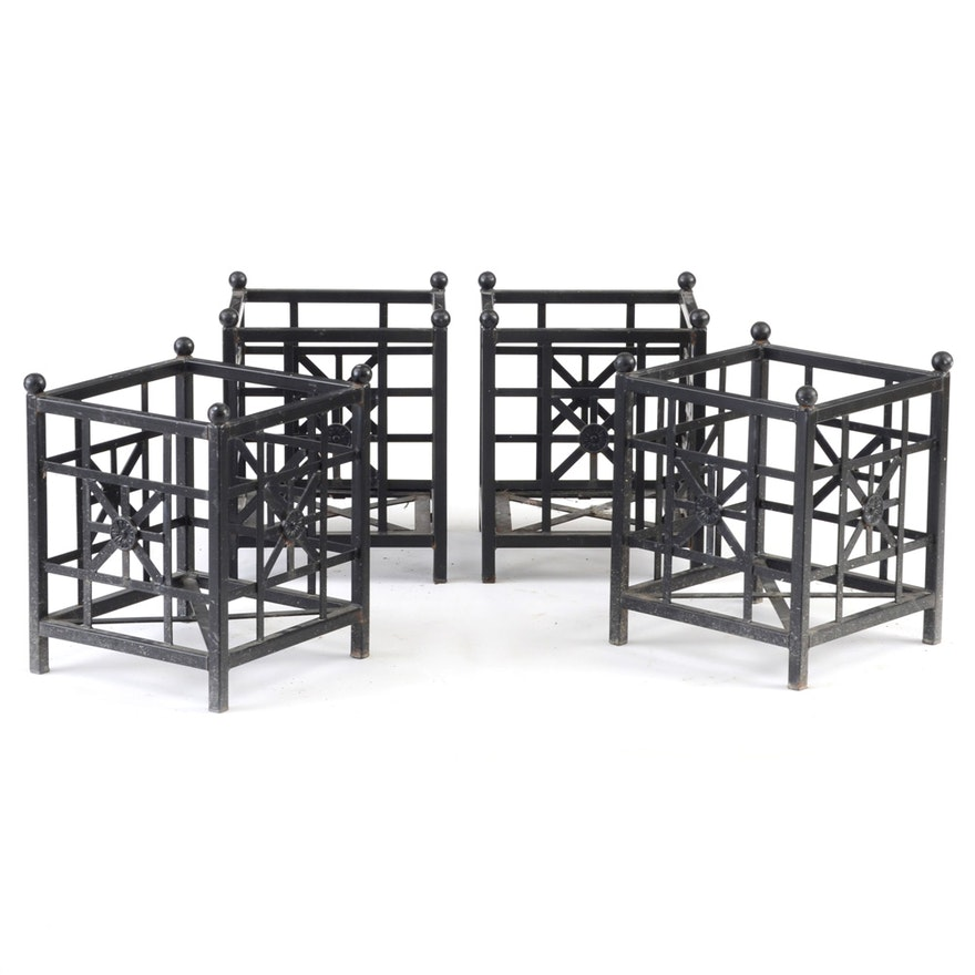 Four Smith And Hawkins Black Painted Iron Planter Boxes Ebth