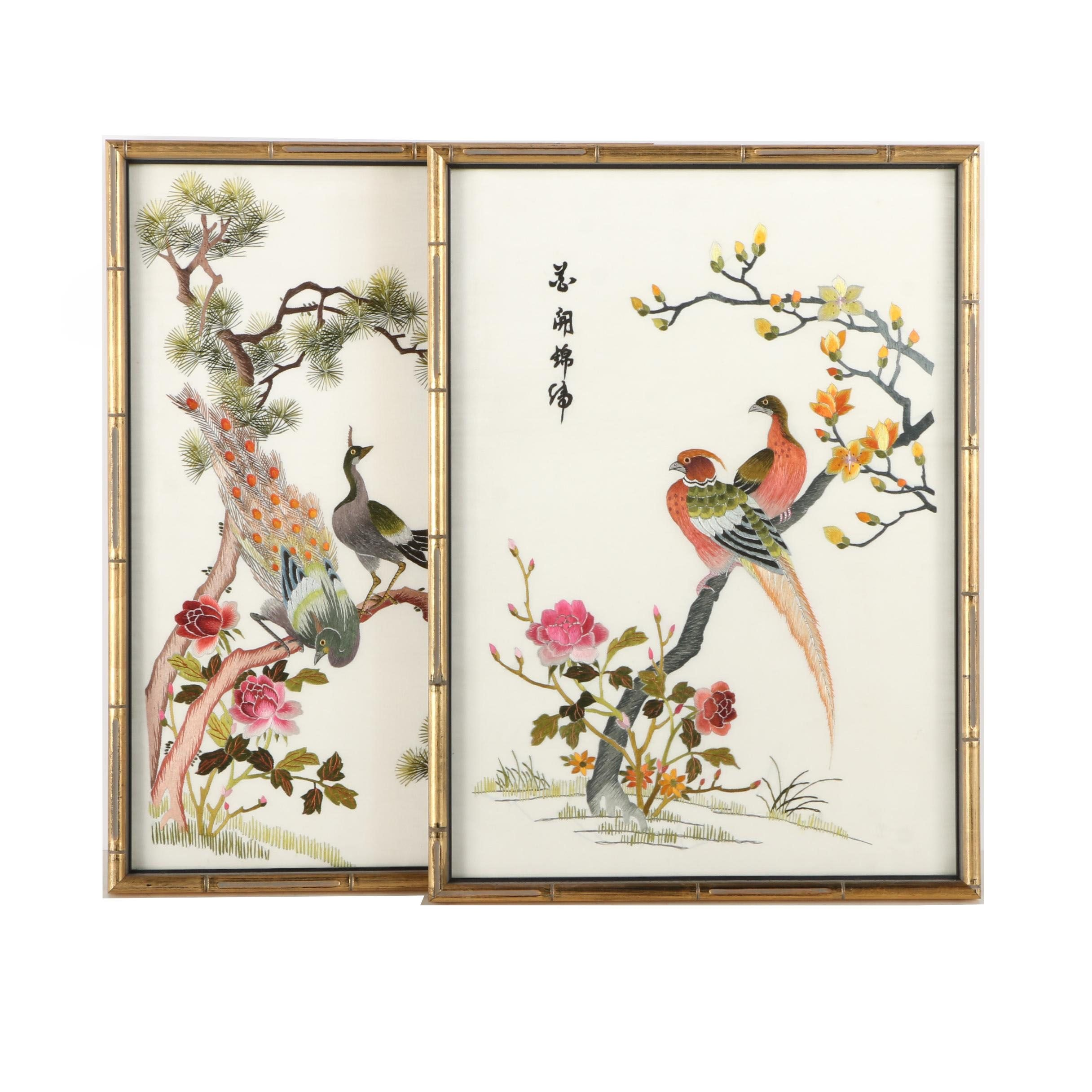 Chinese Embroideries on Silk With Birds, Trees, and Flowers
