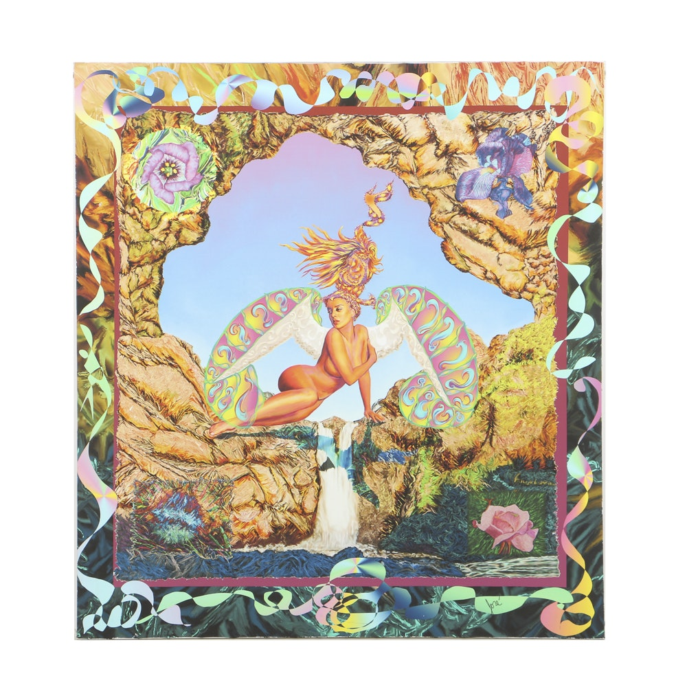 Contemporary Giclée Print on Vinyl Psychedelic Composition