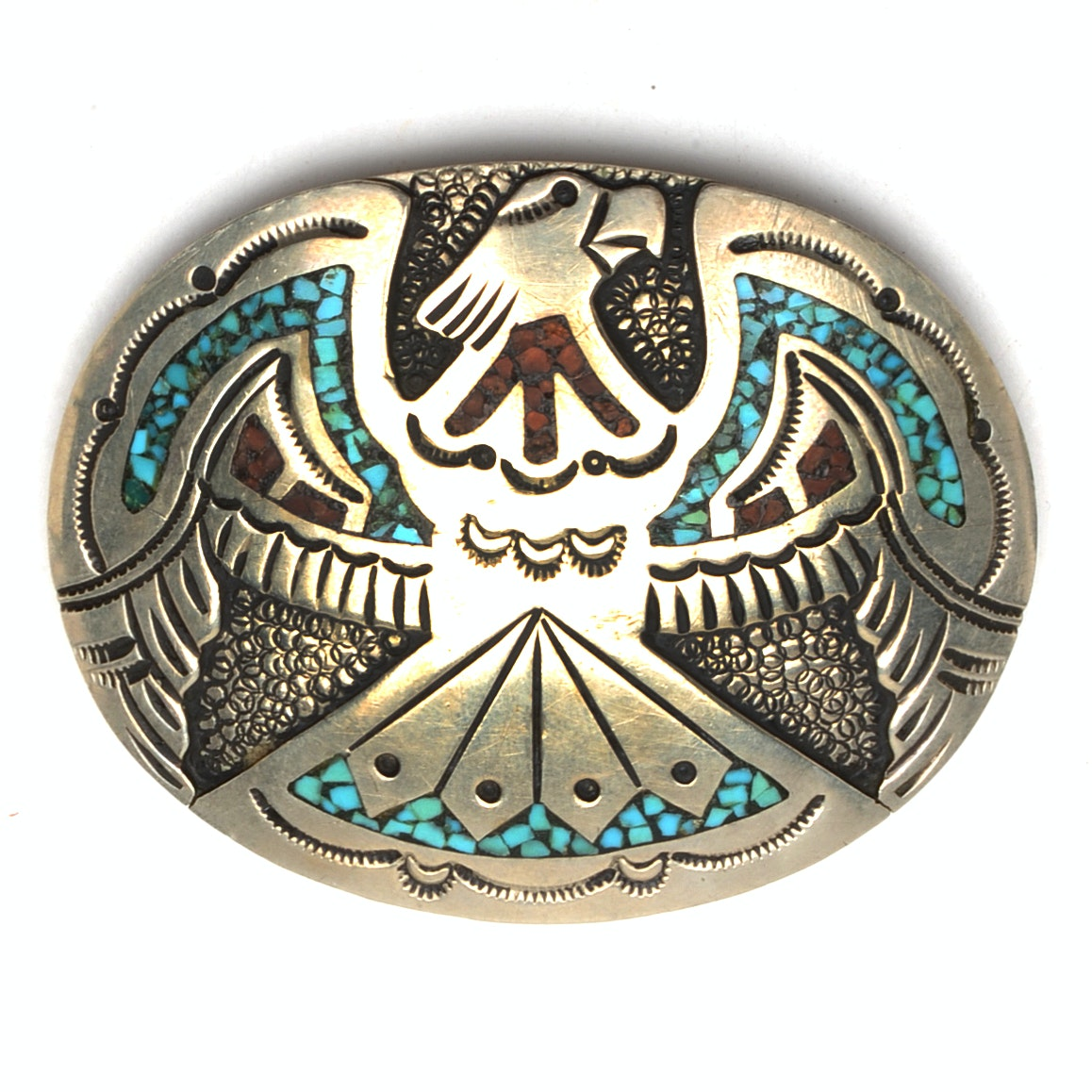 J. Nezzie Navajo Turquoise and Coral Inlaid Eagle Belt Buckle