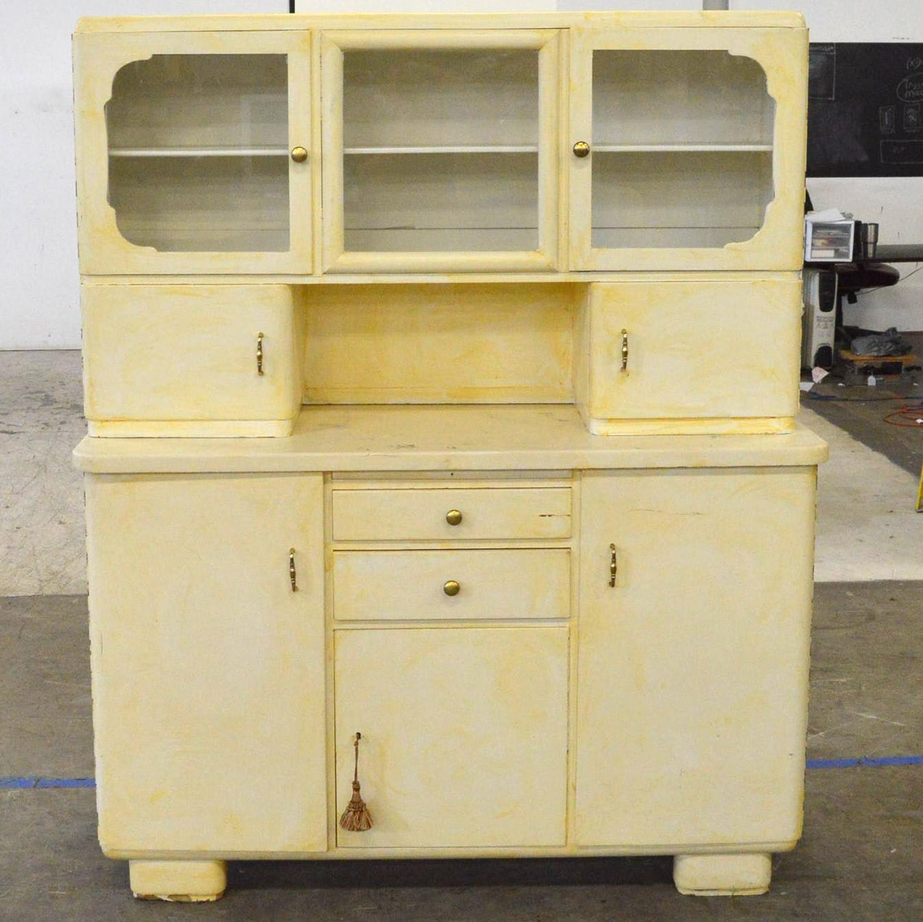 Vintage Mid-Century Painted Kitchen Cabinet
