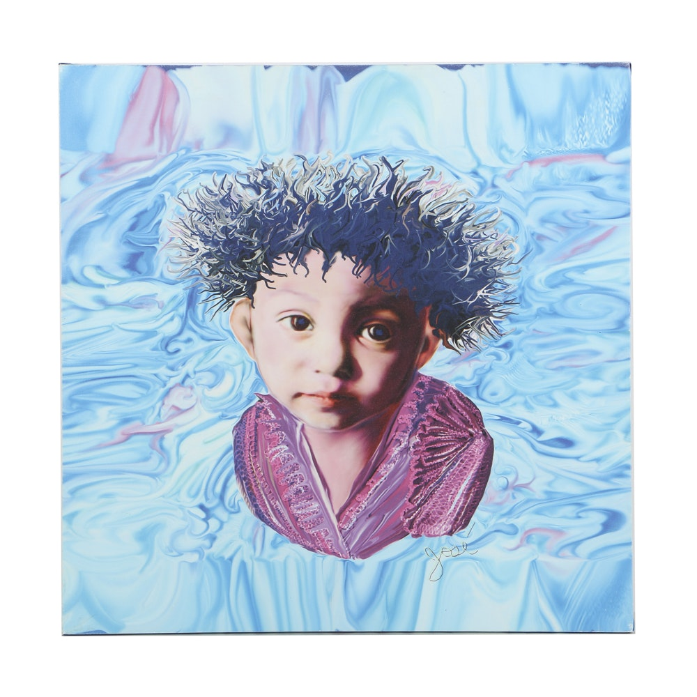 Contemporary Giclée Print on Vinyl Abstract Portrait of a Boy