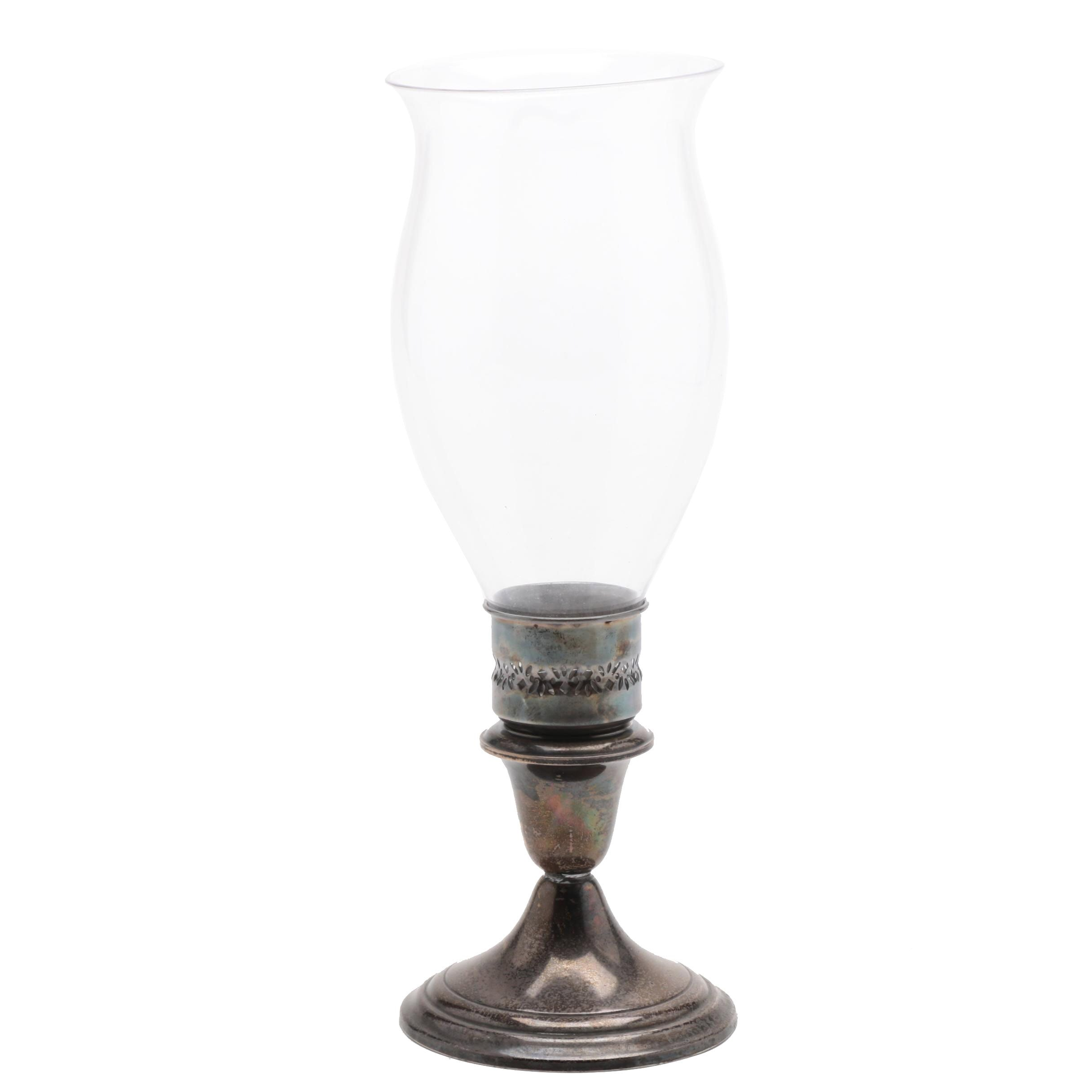 Gorham Weighted Sterling Silver Candleholder With Hurricane Shade