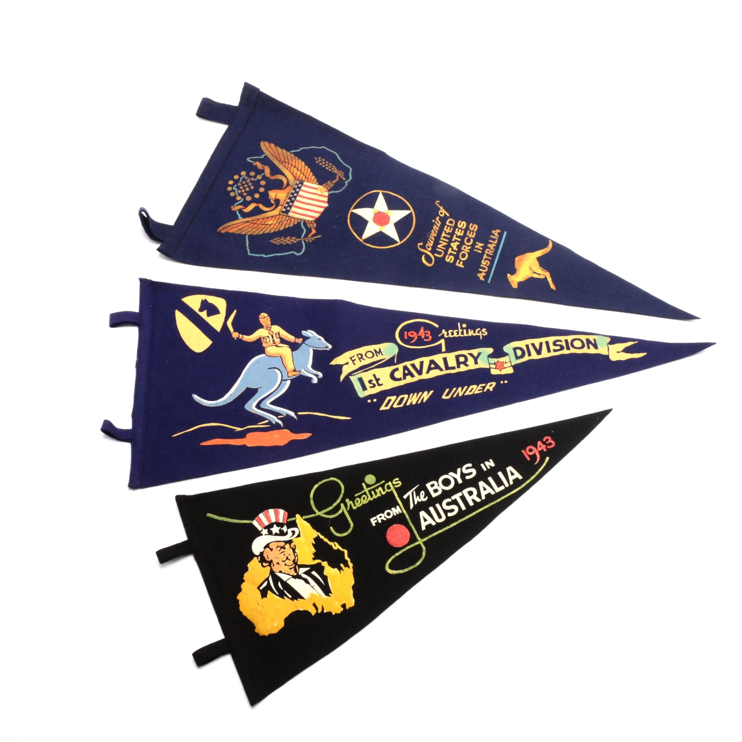 Three World War II Felt Pennants Dated 1943