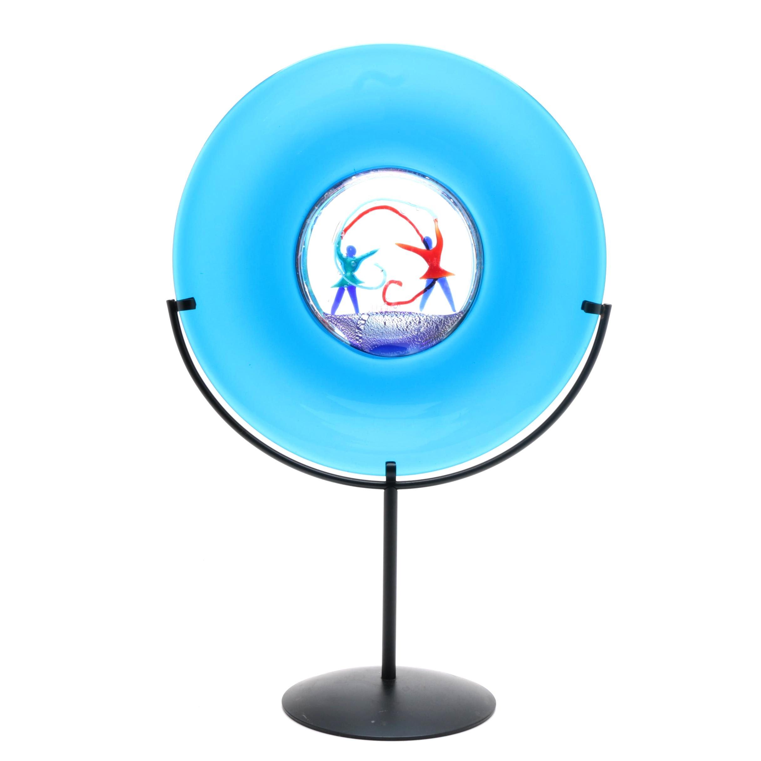 Oggetti Italian Art Glass Disc Sculpture