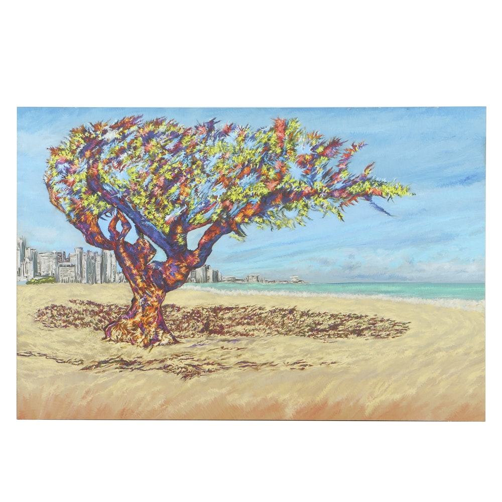 Contemporary Giclée Print on Vinyl Abstract Tree With