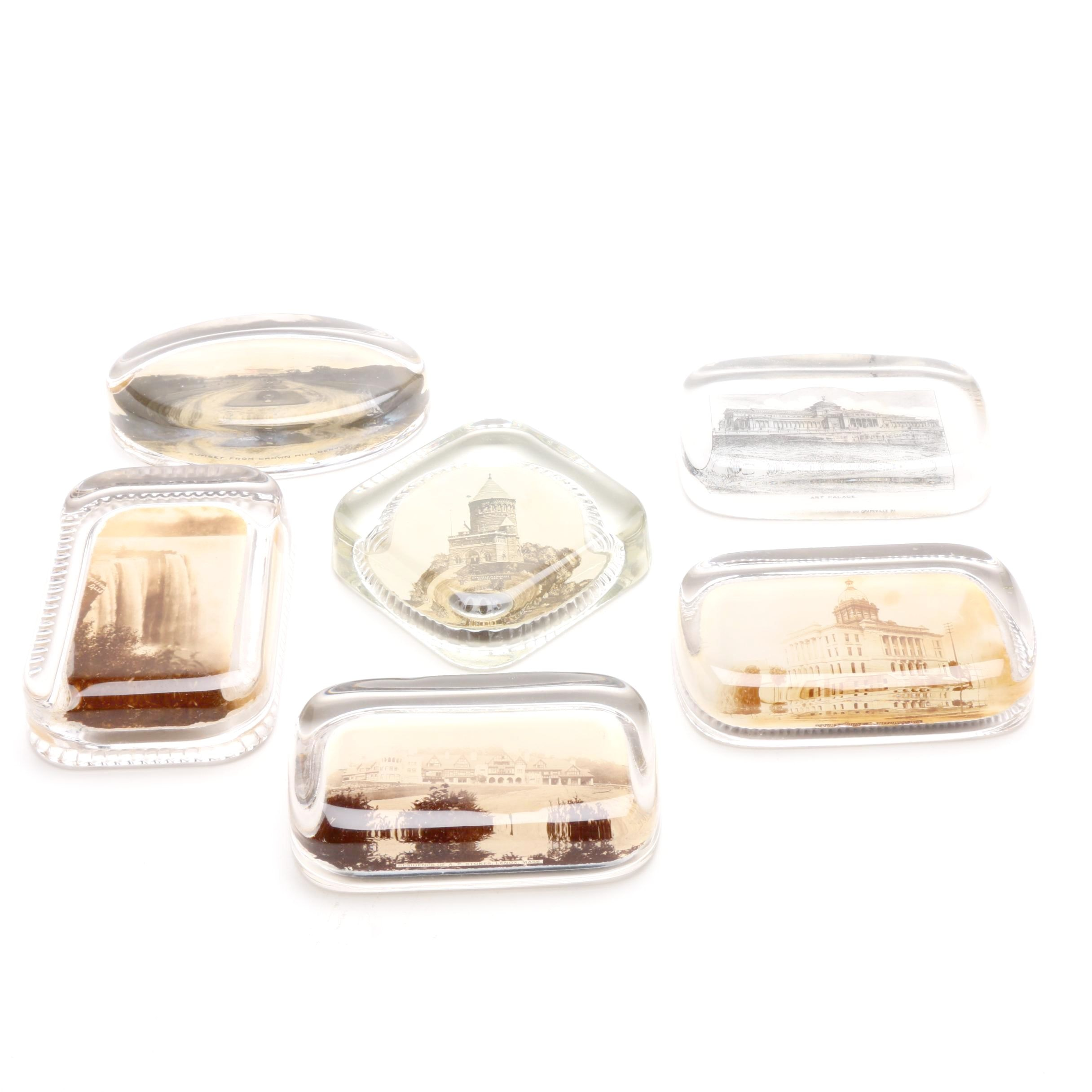Six Photographic Souvenir Glass Paperweights