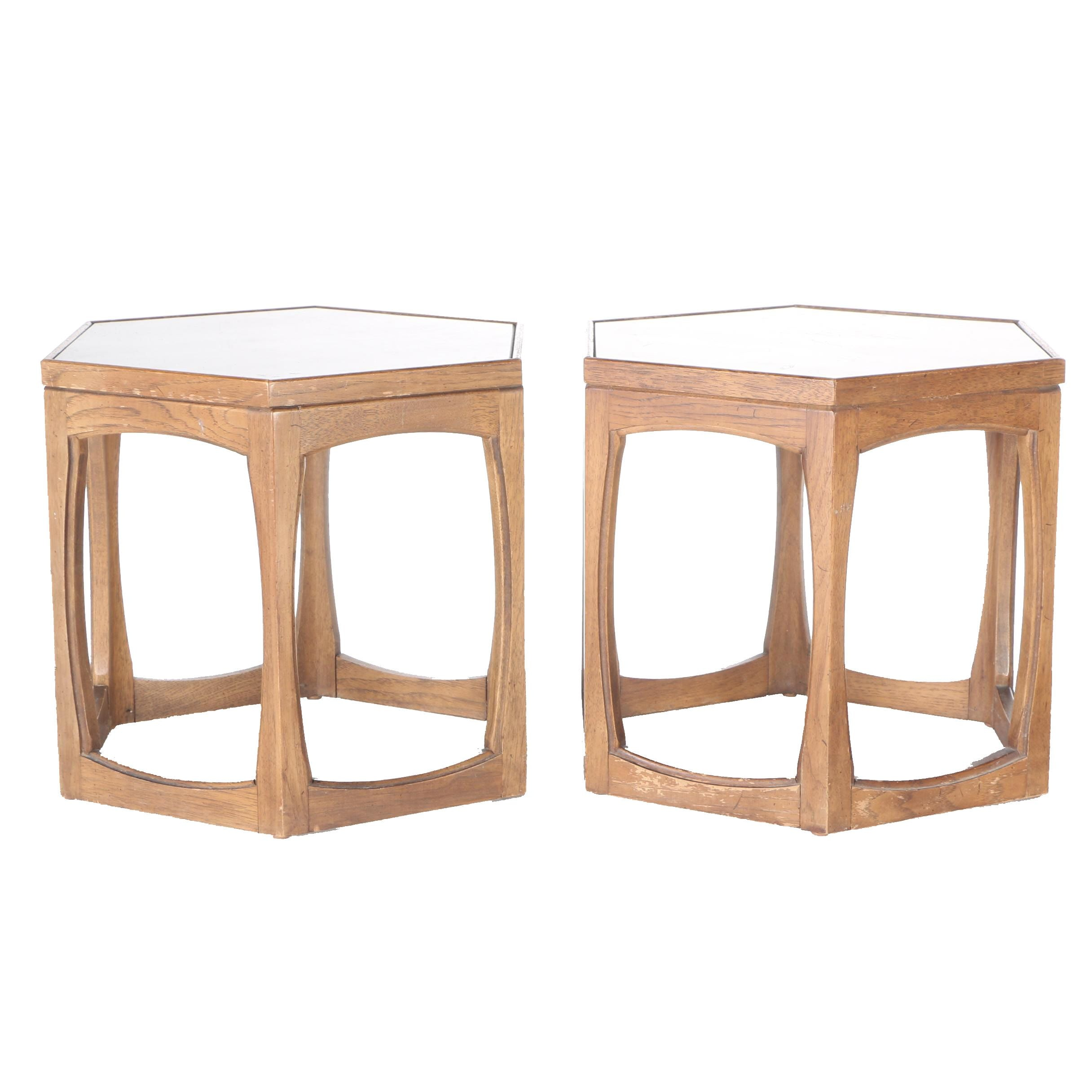 Pair Mid Century Style Ceramic and Oak Hexagonal End Tables