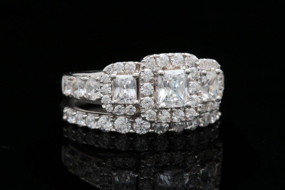 Sterling Silver and Cubic Zirconia Bridal Set
