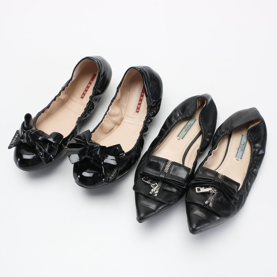 Two Pairs of Prada Flats With Bows   EBTH f750a6c67