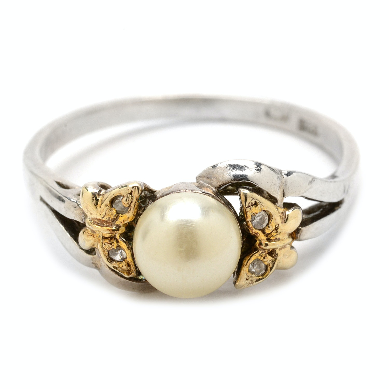 Sterling Silver and Faux Pearl Butterfly Ring
