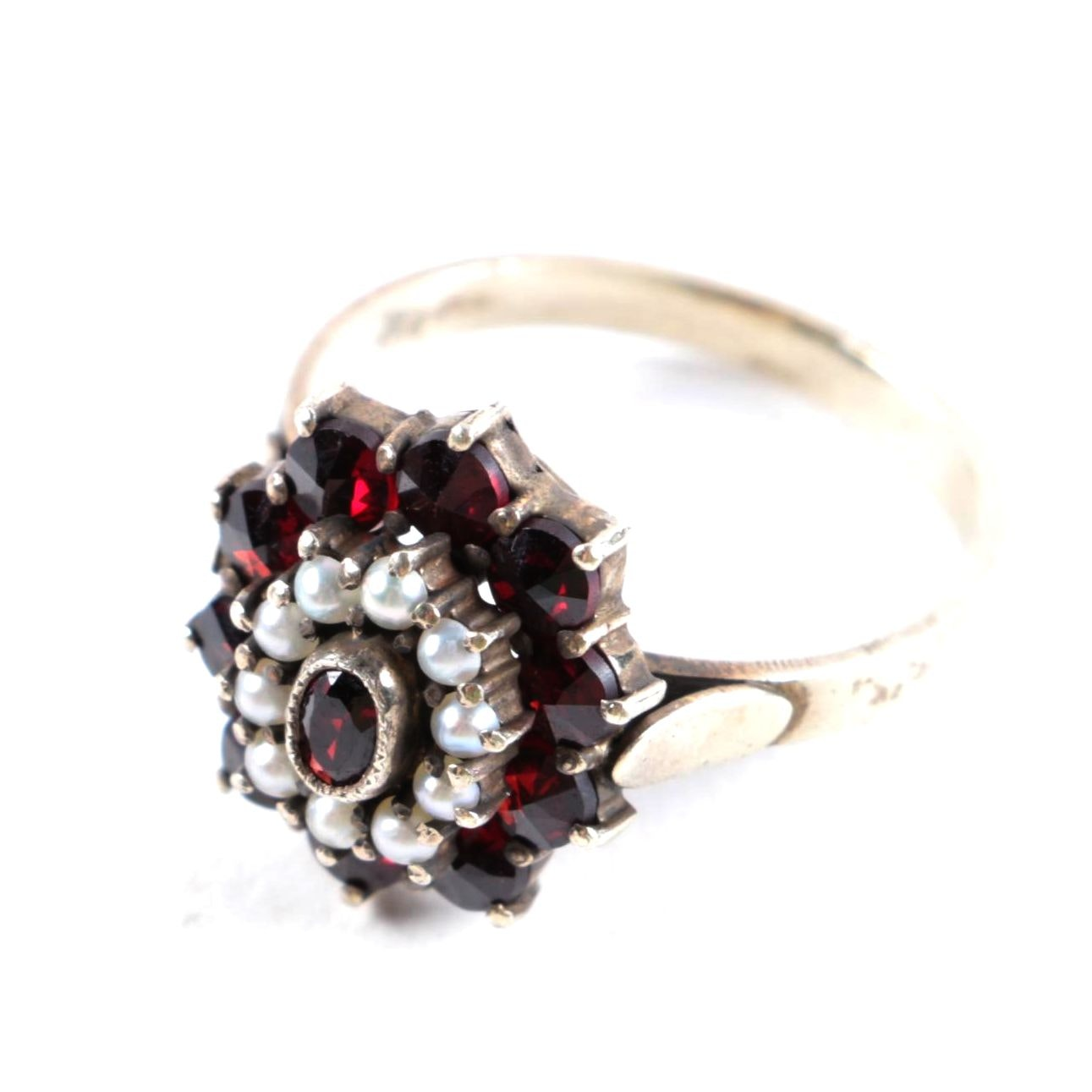 Victorian 800 Silver Garnet and Pearl Ring