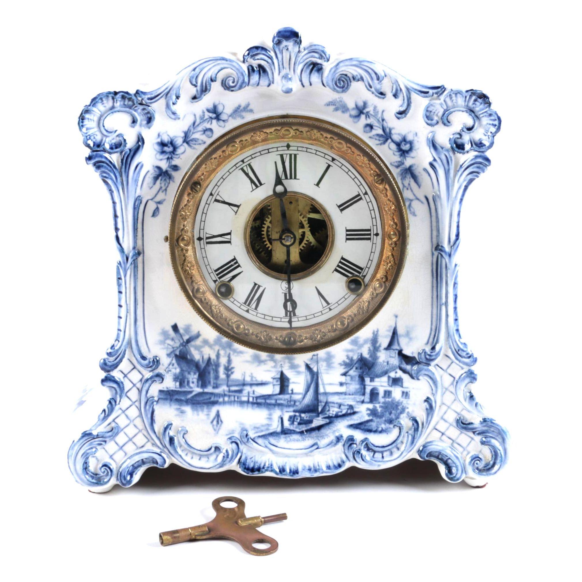 19th-Century Delft Mantel Clock with F. Kroeber Clock Co. Works