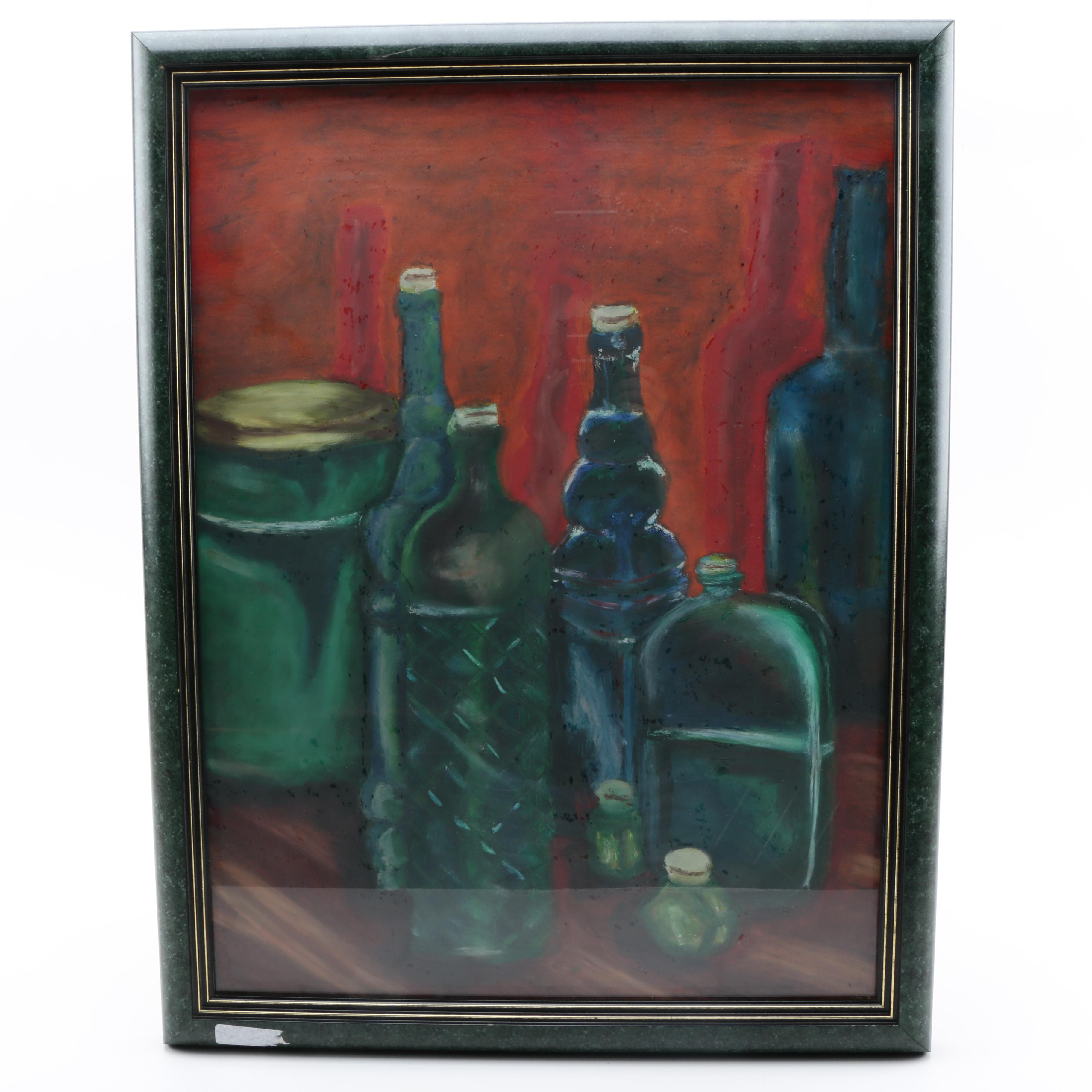 Oil Pastel Drawing on Paper of Blue and Green Toned Bottles