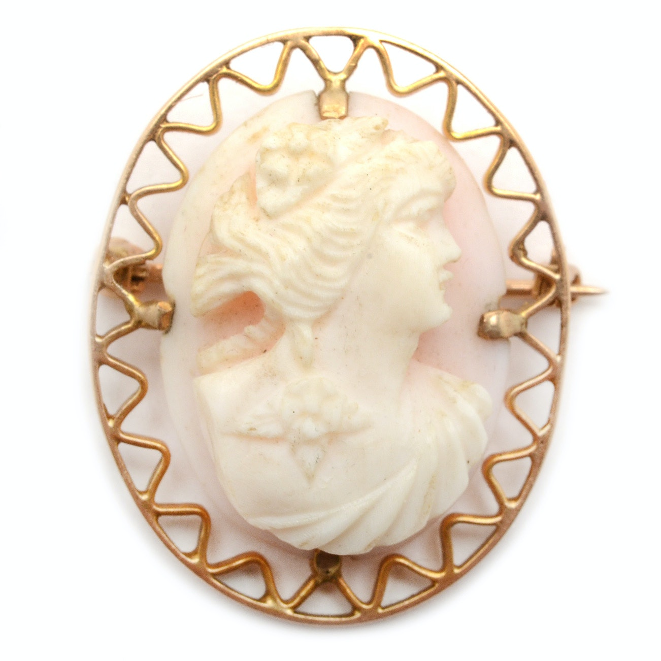 10K Yellow Gold Angel Skin Coral Cameo Brooch