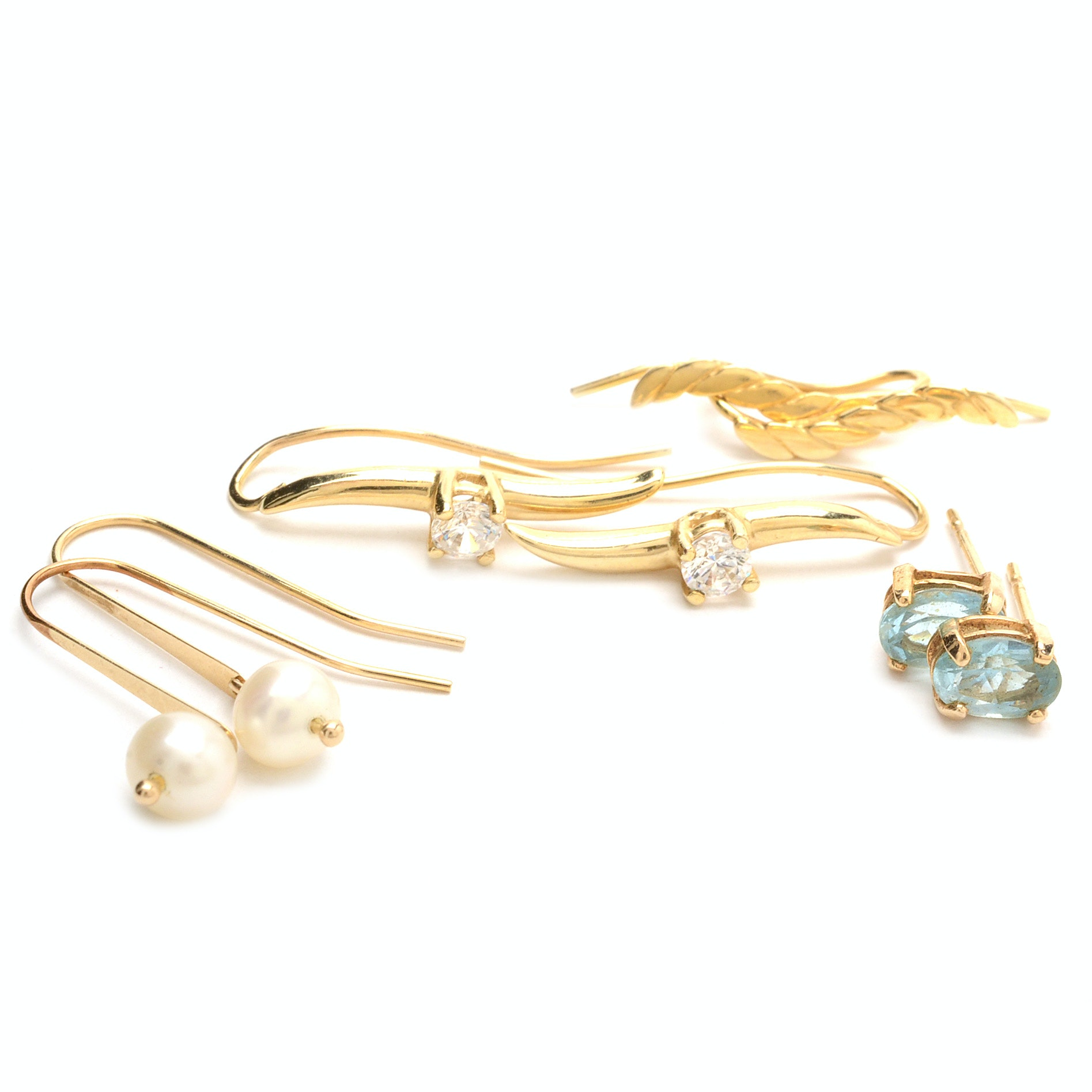 Four Pairs 14K Yellow Gold Earrings