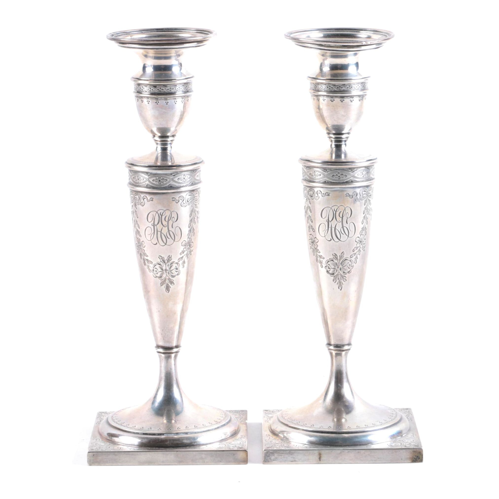 Pair of Gorham Engraved Sterling Silver Candlesticks