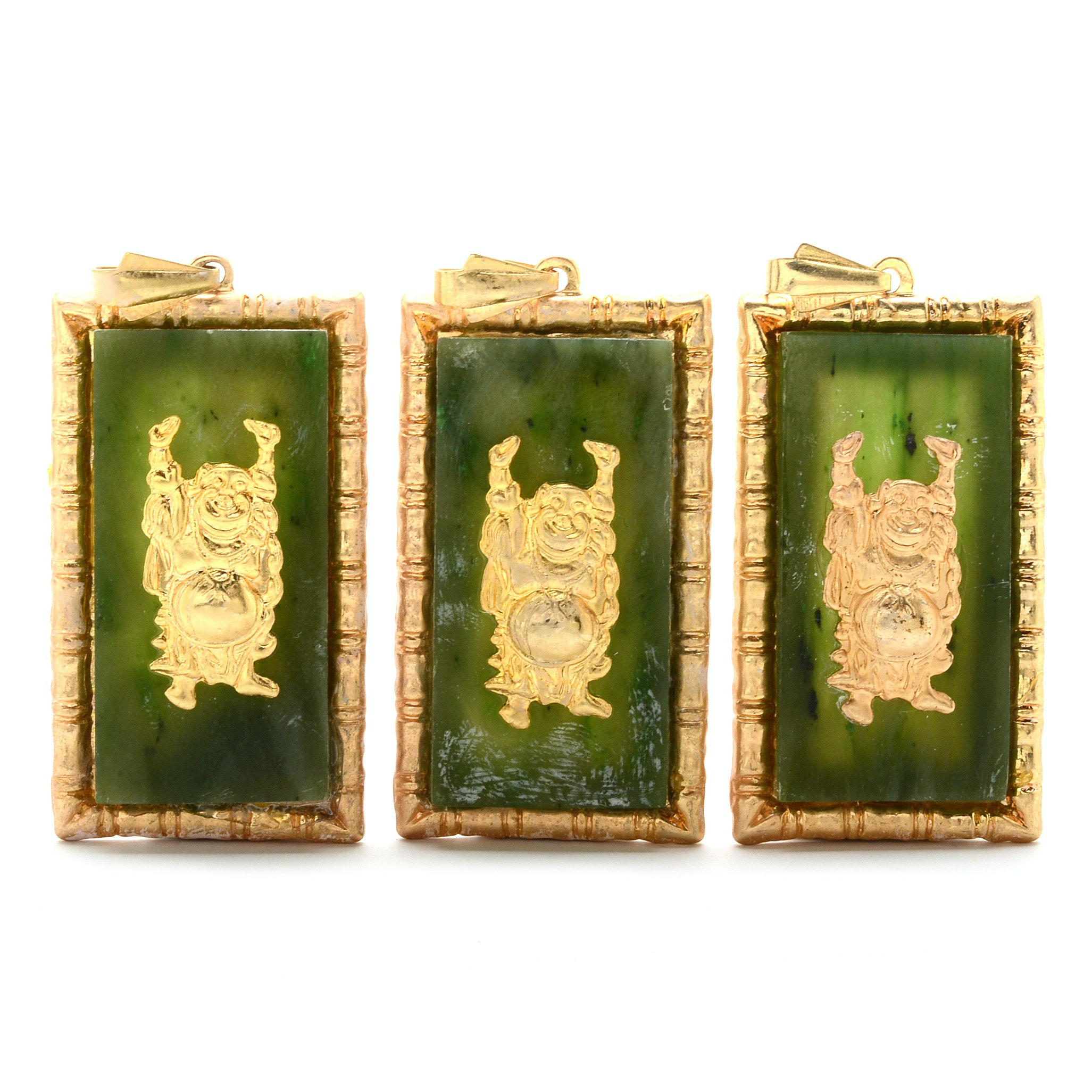 Three Nephrite Budai Pendants