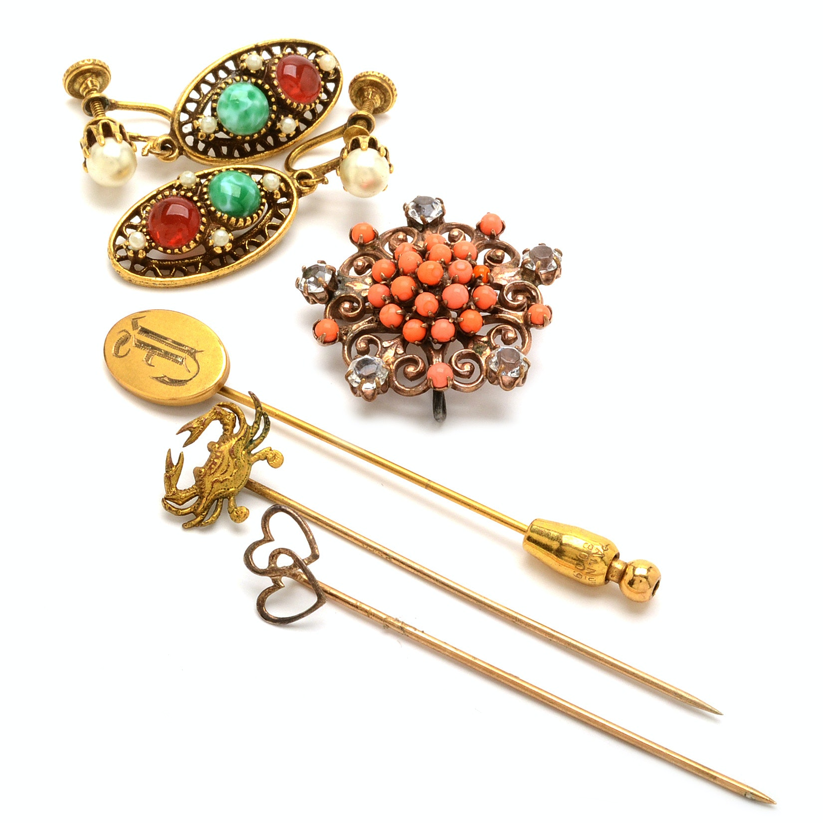 Vintage Jewelry With 10K Gold and Imitation Stone Elements