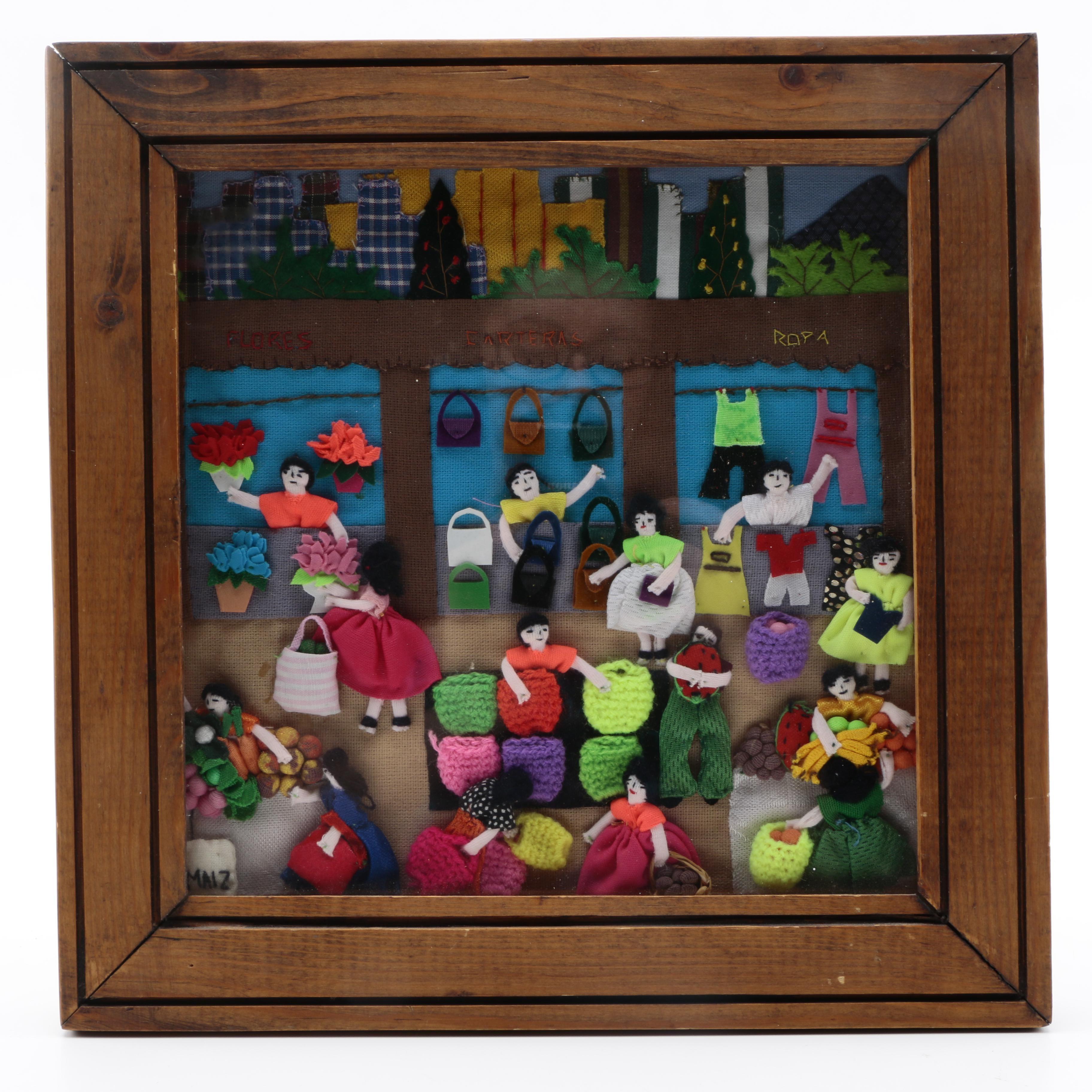 "South American ""Arpillera"" Folk Art of a Marketplace"