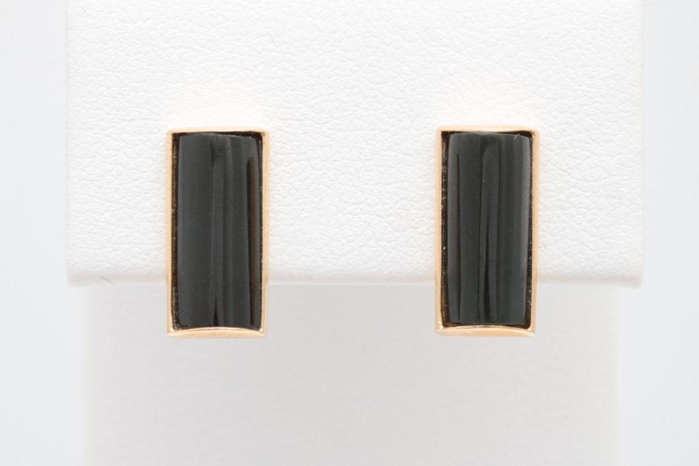 14K Yellow Gold Black Jade Earrings