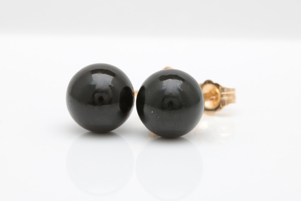 14K Gold and Black Jade Stud Earrings