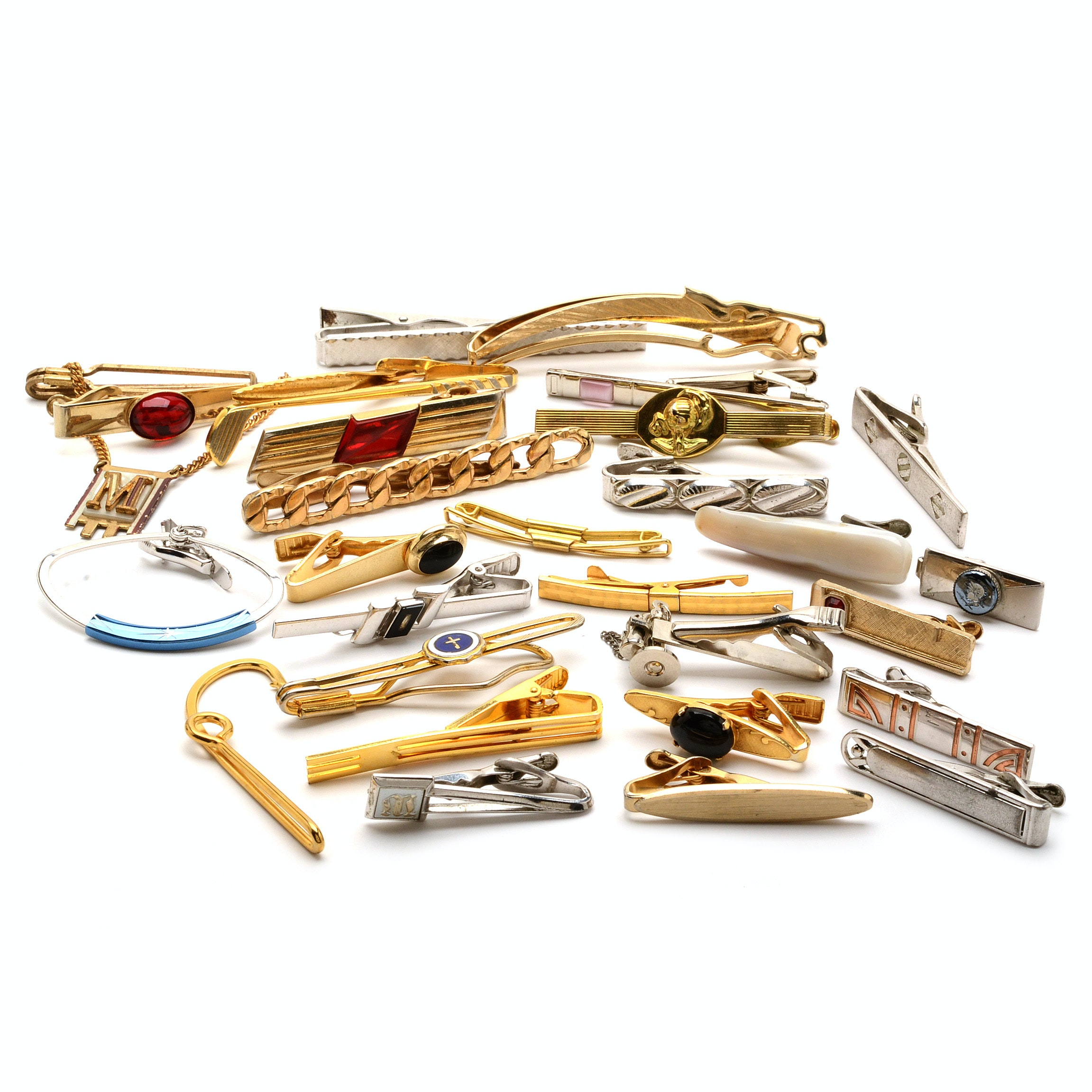 Assortment of Vintage Tie Clips and Tie Bars