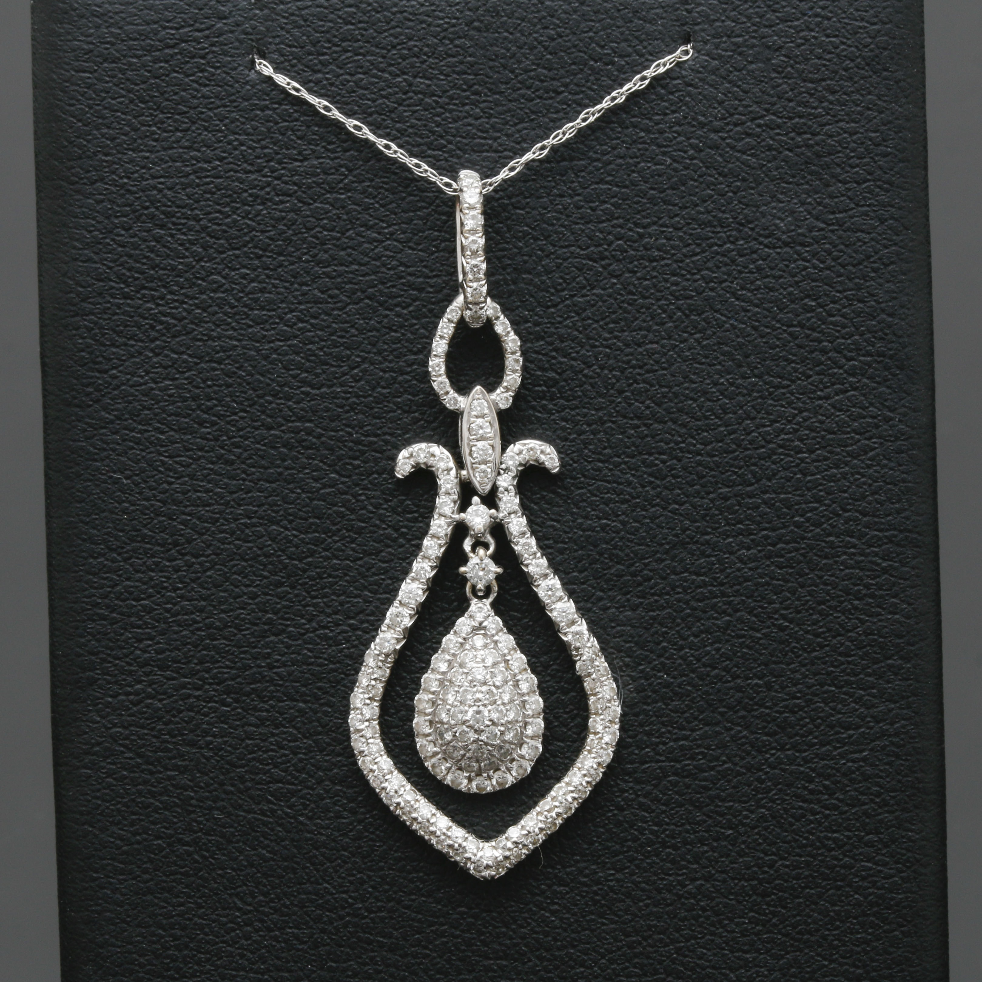 14K and 18K White Gold 0.95 CTW Diamond Drop Pendant Necklace