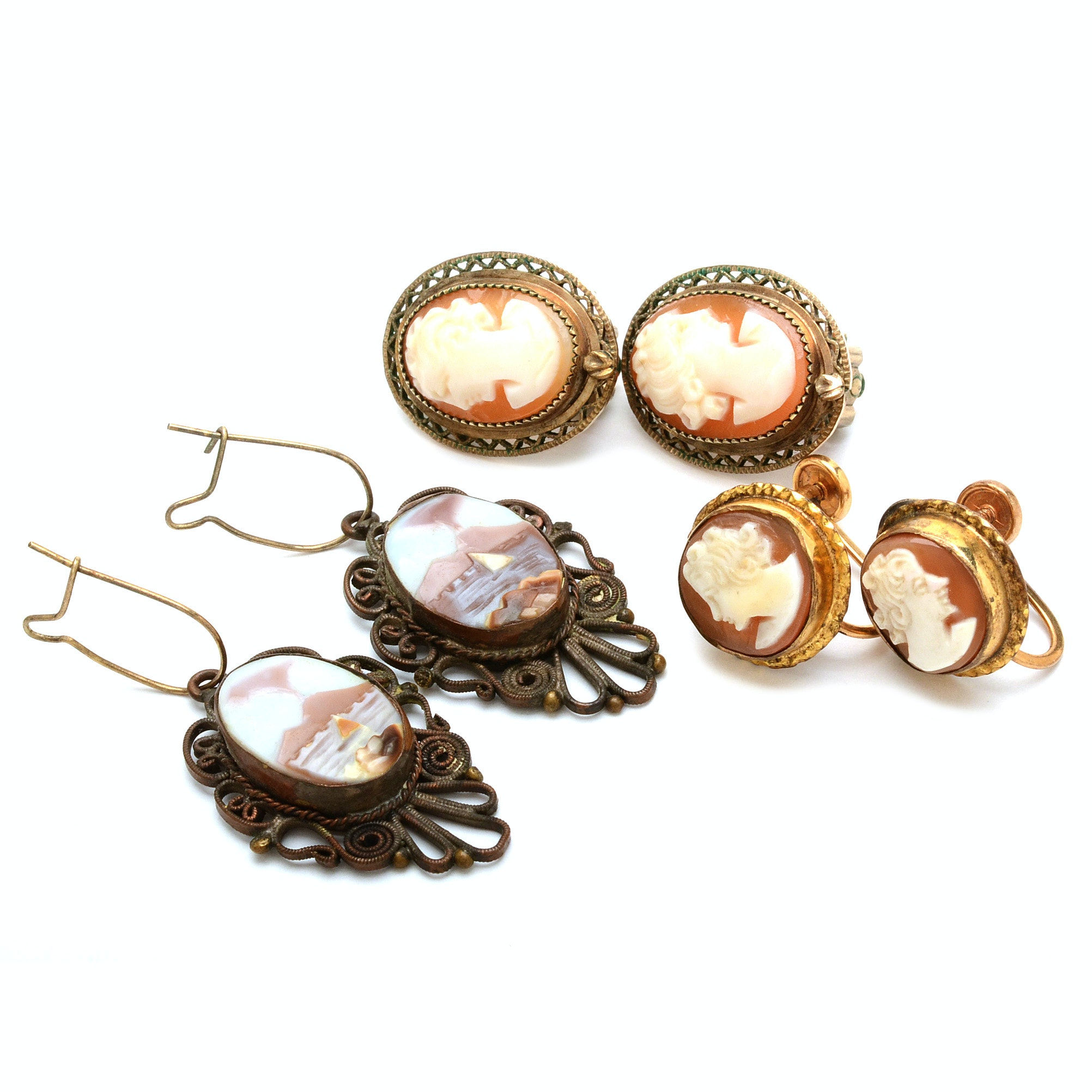 Mt. Vesuvius and Other Cameo Earrings