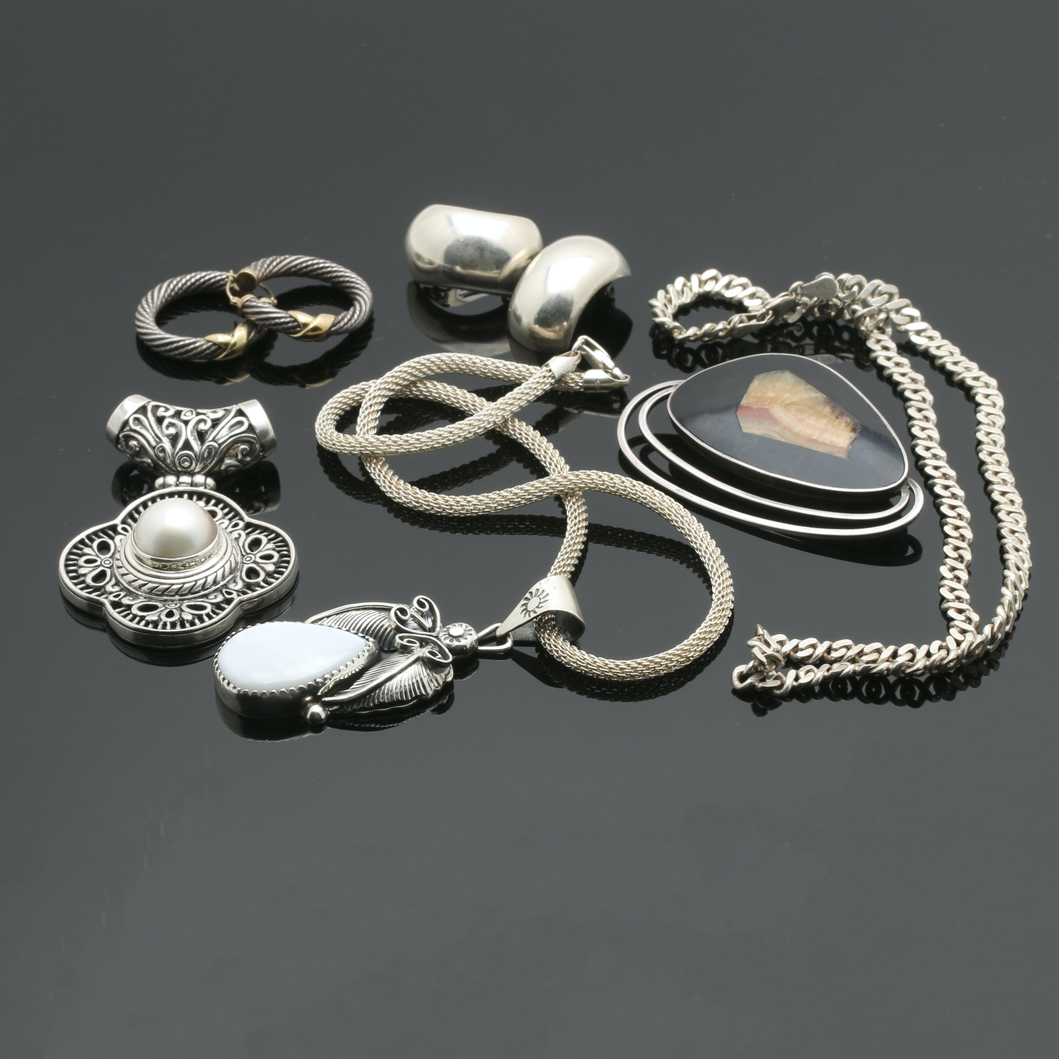 Assortment of Sterling Silver Jewelry Featuring Mother of Pearl, Mabe Pearl and Agate