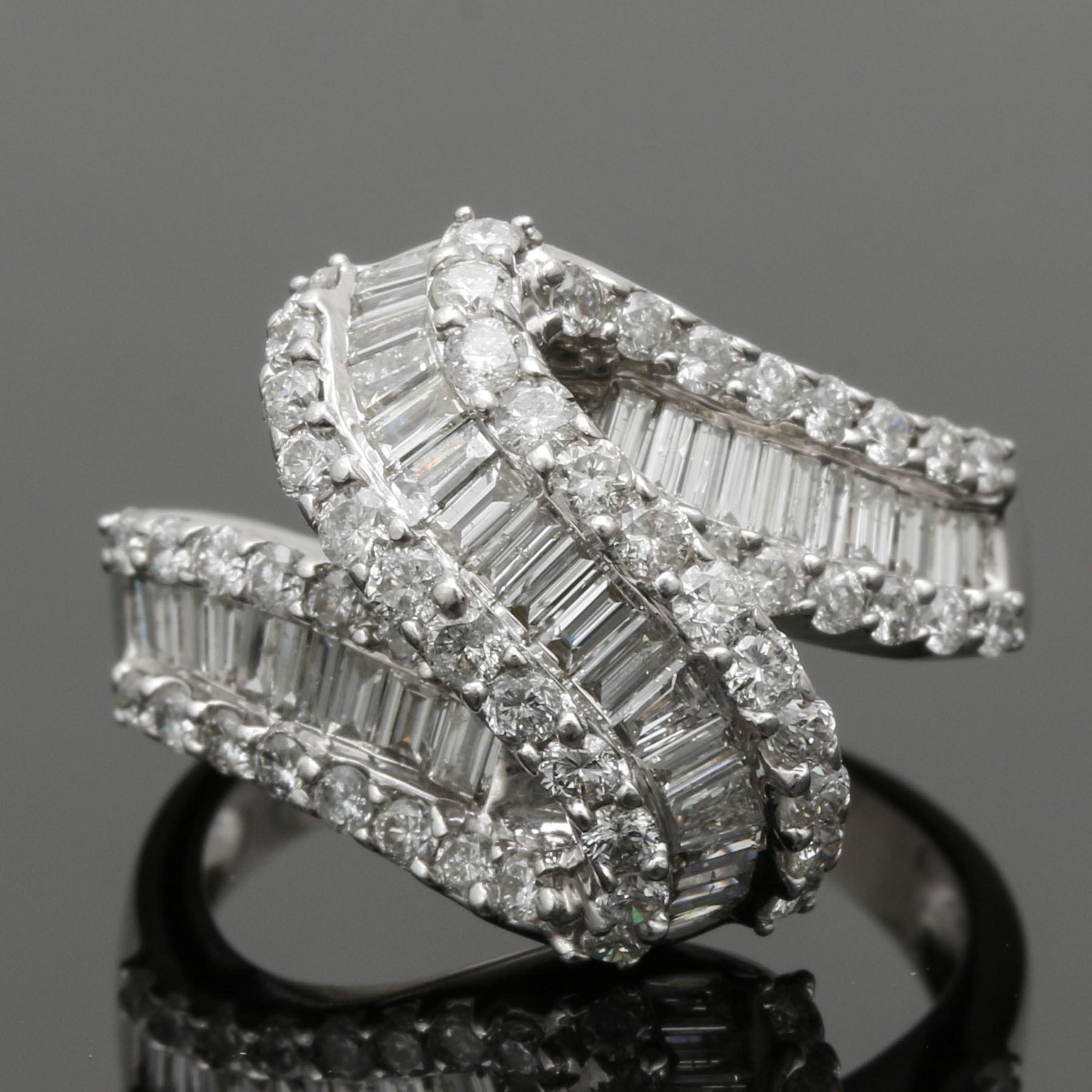 14K White Gold 2.04 CTW Diamond Zig-Zag Ring