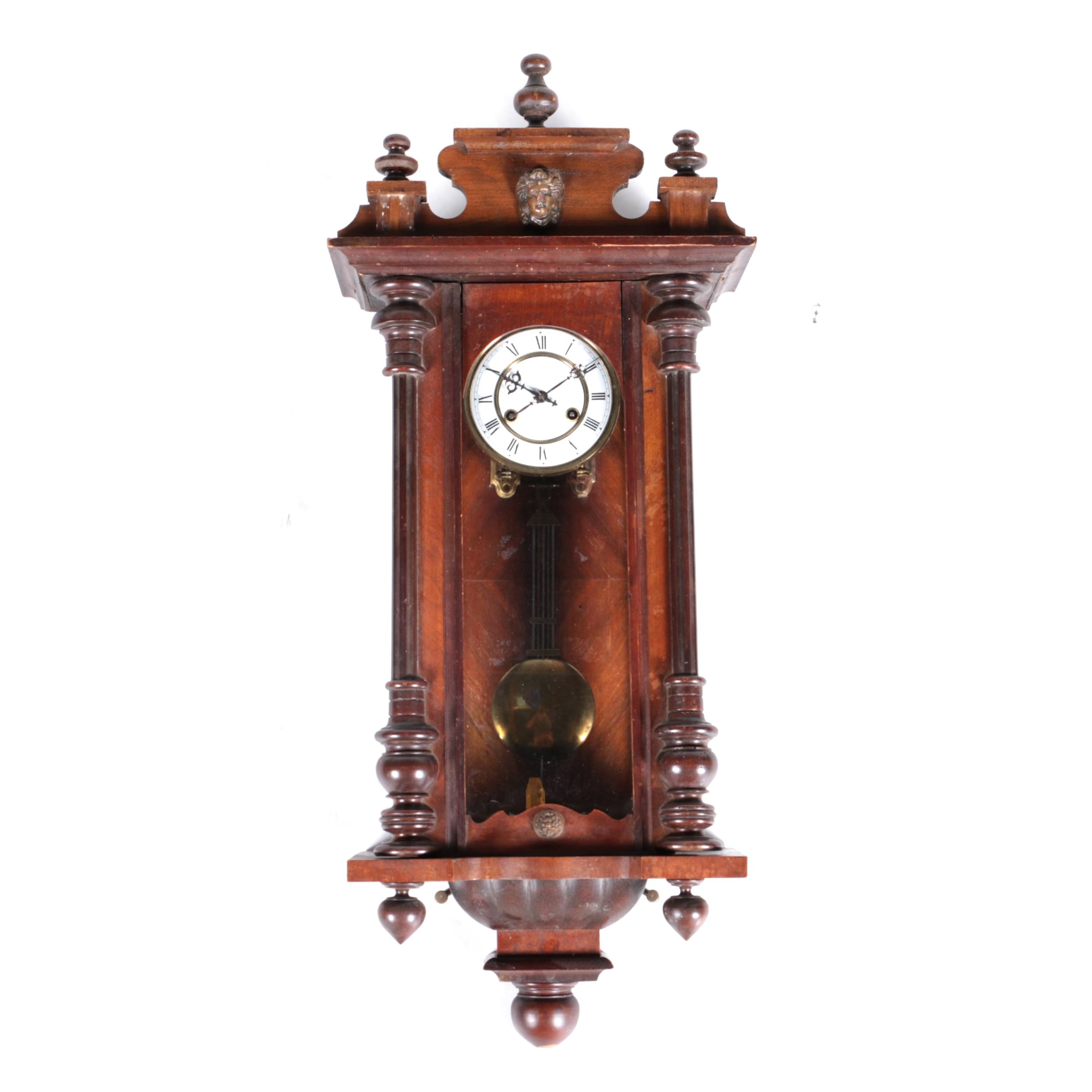 Early 20th Century Mahogany Junghans German Wall Clock