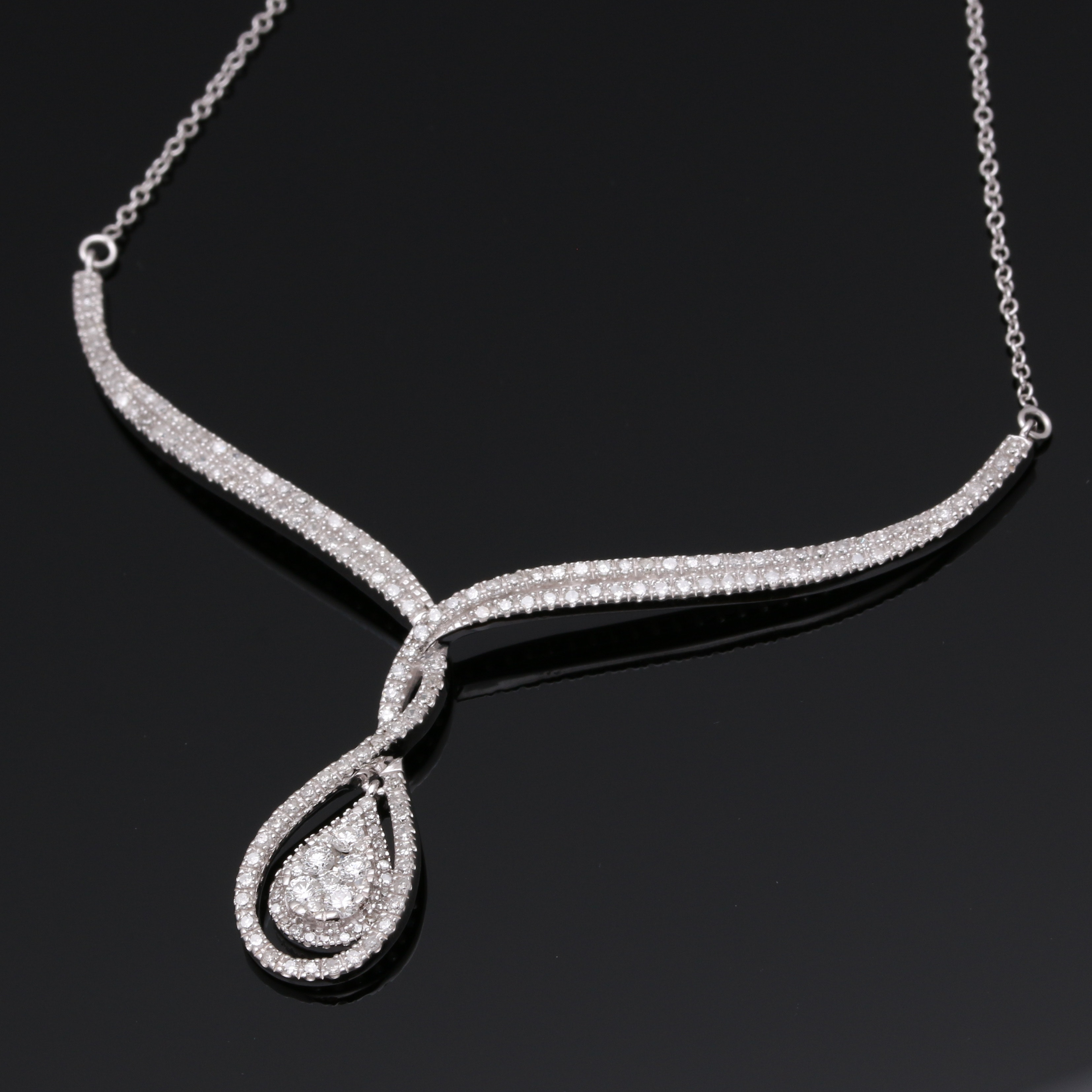 14K White Gold 1.28 CTW Diamond Necklace