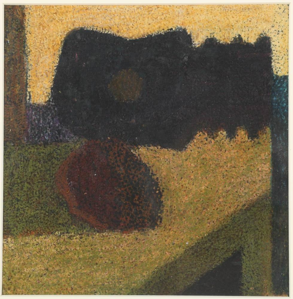 """Edgar Hatten Oil Painting on Paper """"Guitar/Fruit"""""""