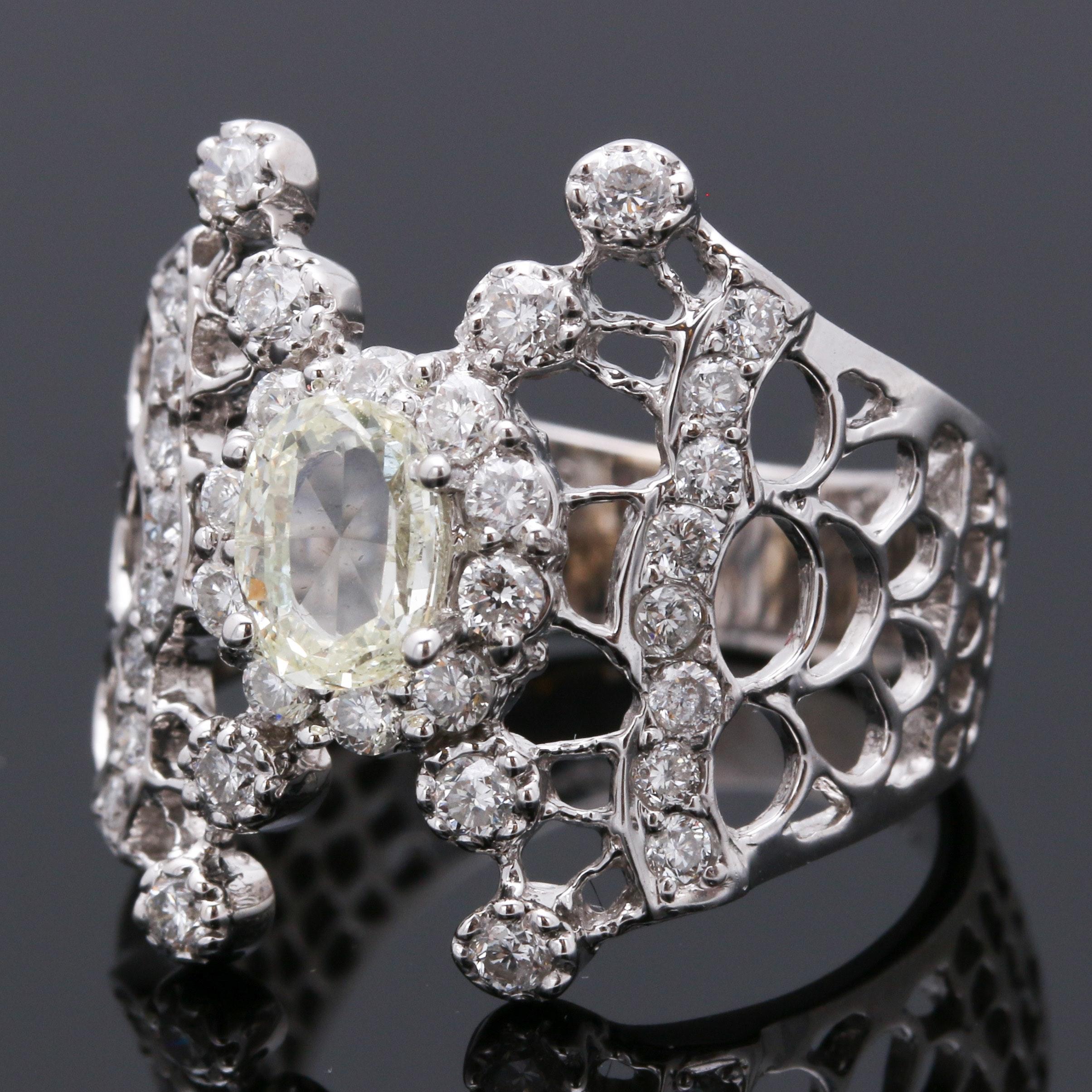 18K White Gold 1.06 CTW Diamond Ring