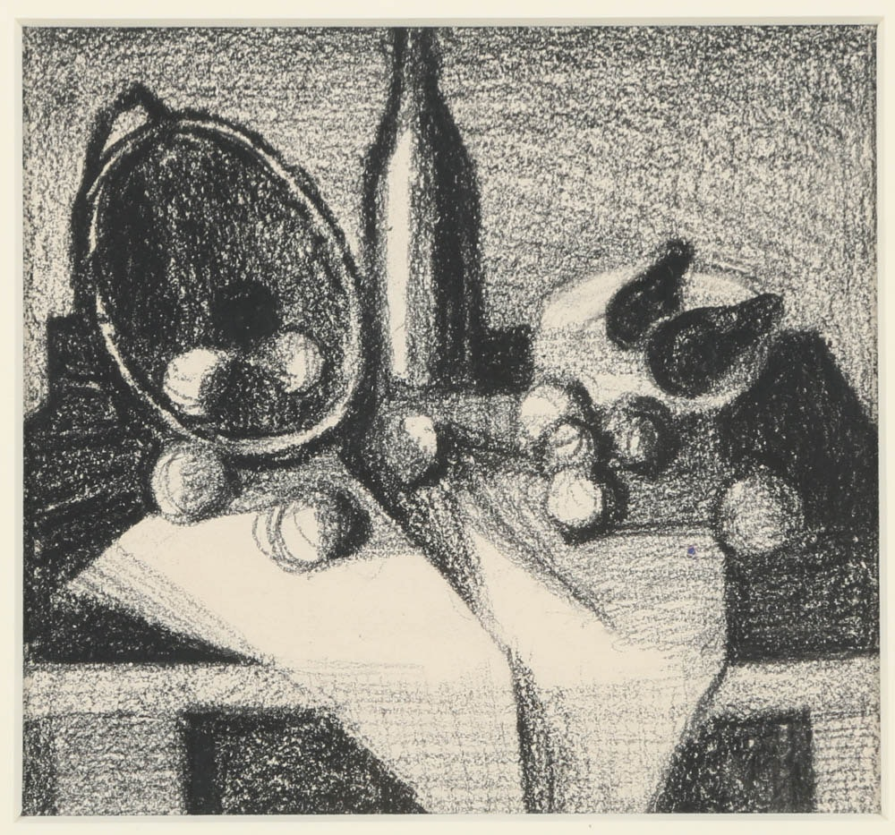 Edgar Hatten Charcoal Drawing on Paper Still Life