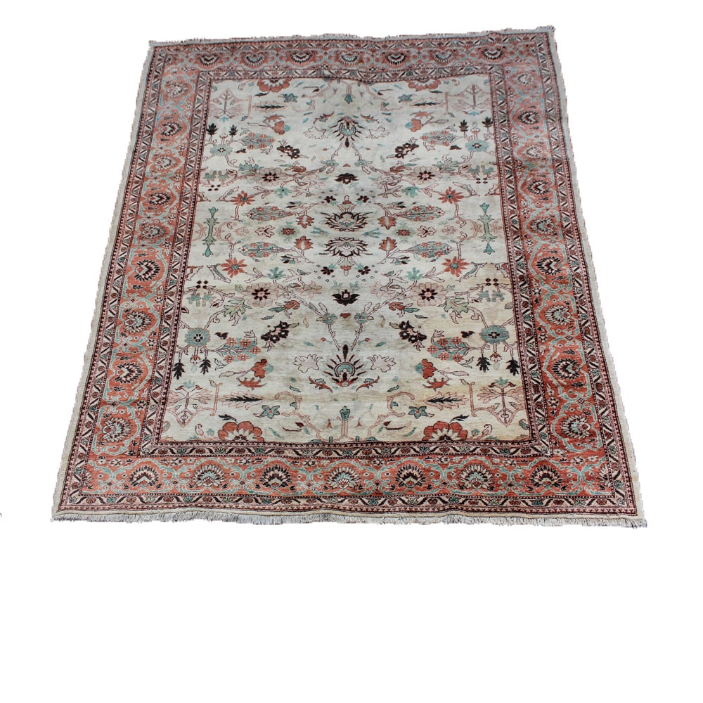 Signed Hand-Knotted Persian Wool Area Rug