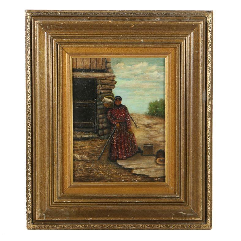 L.C. Taylor Oil Painting on Canvas Figural Landscape