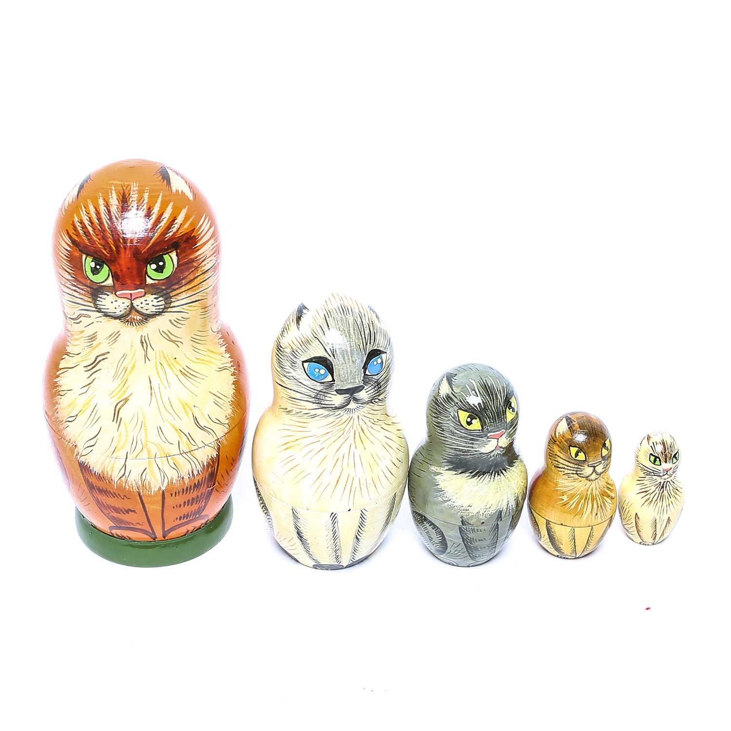 Vintage Hand Painted Russian Cat Nesting Dolls