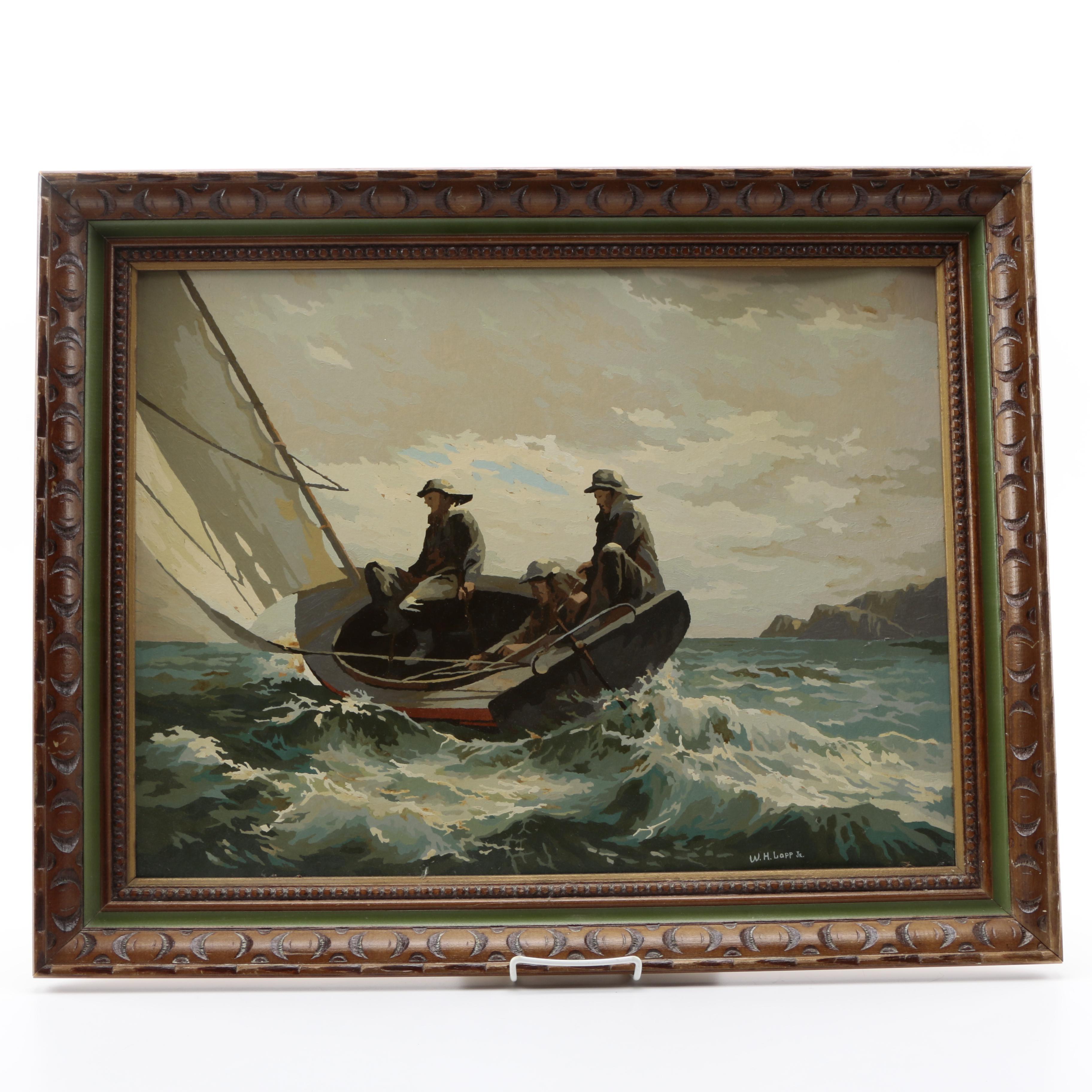 W.H Loop Jr. Acrylic Paint by Numbers on Board of Fishermen