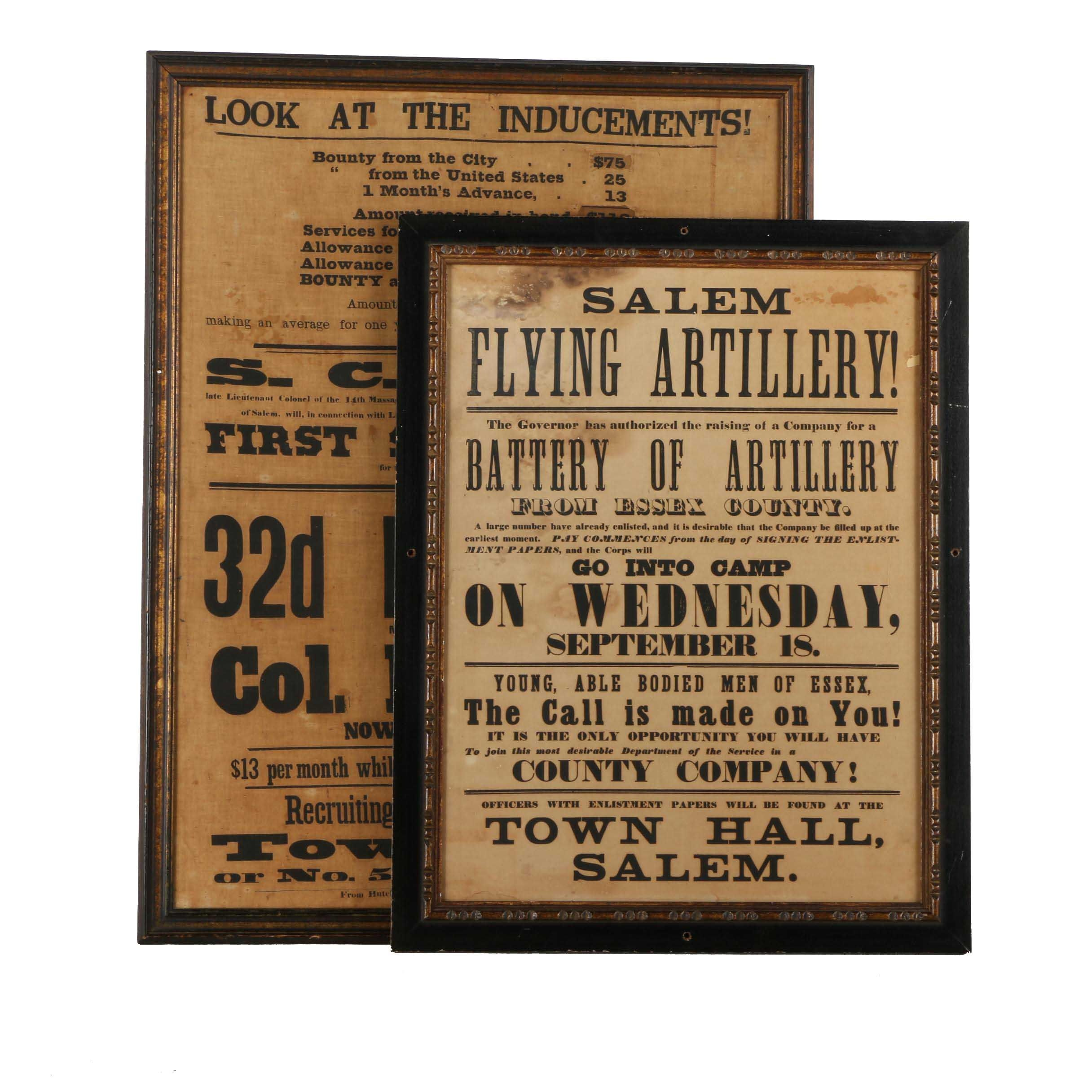 Civil War Era Massachusetts Recruitment Broadsides