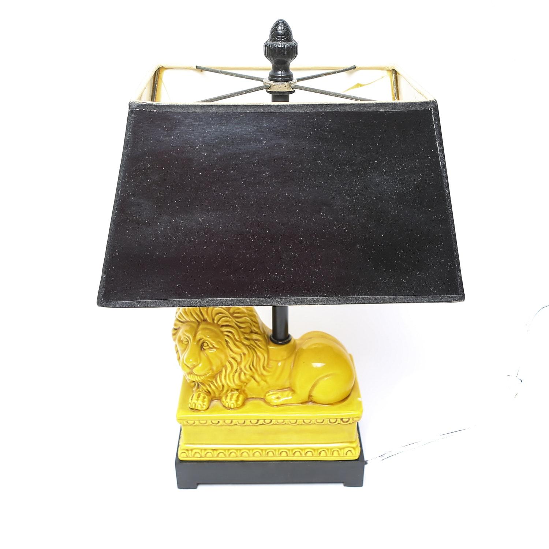 Mid Century Modern Yellow Ceramic Lion Lamp