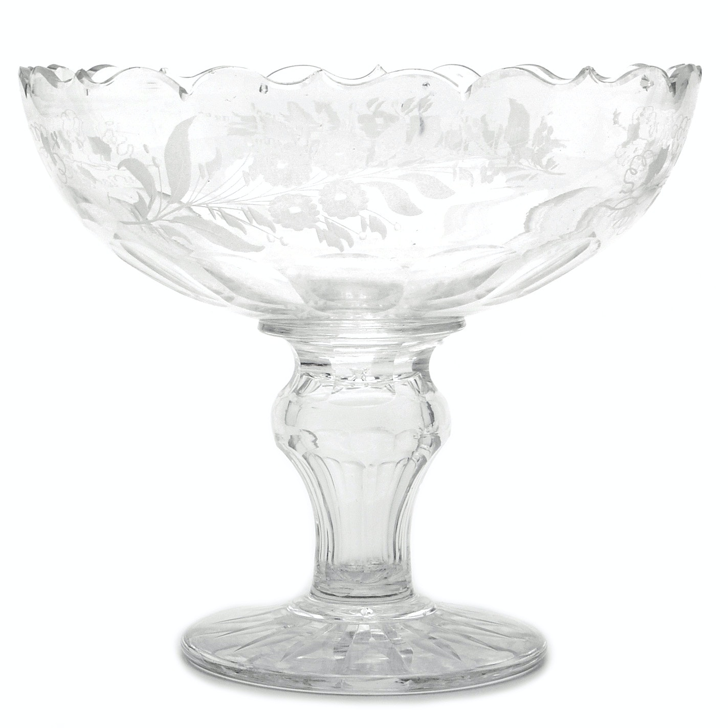 Cut-Glass Bowl on Pedestal