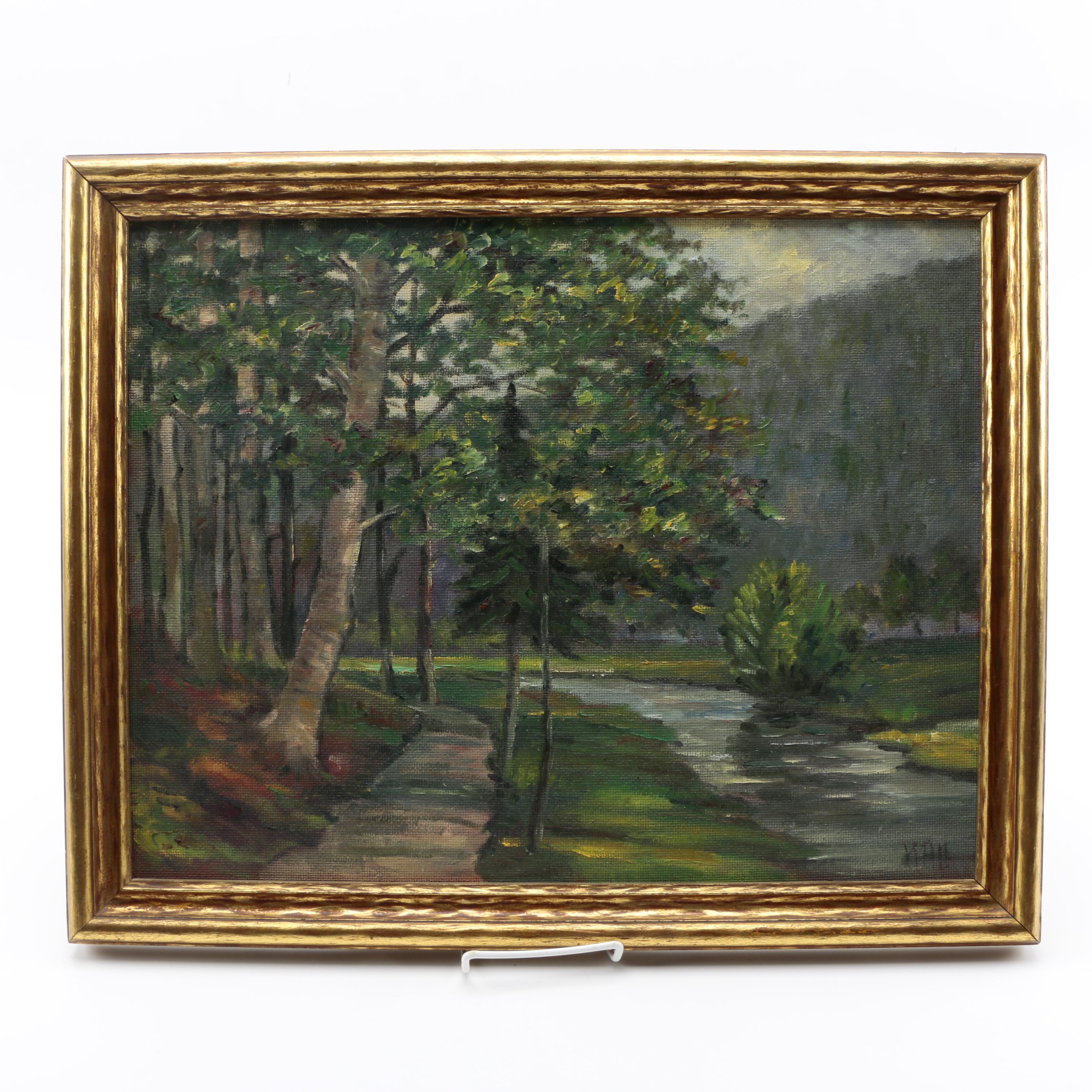 """1955 Karl Theo Hall Oil Painting on Canvas Board """"Partie im Würmtal Bei Pforzheim"""""""