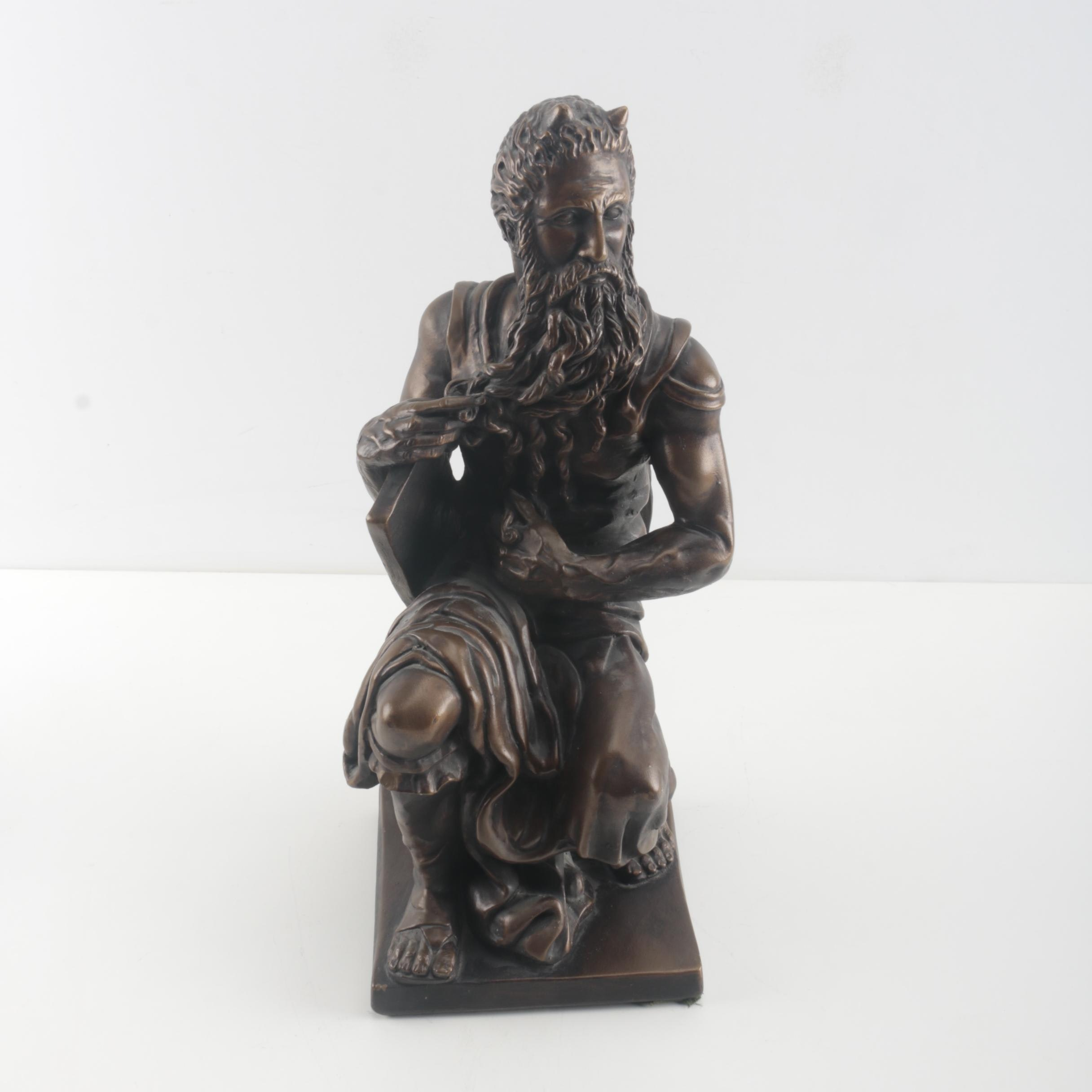 "Bronze Tone Statuette After ""Moses"" by Michelangelo"